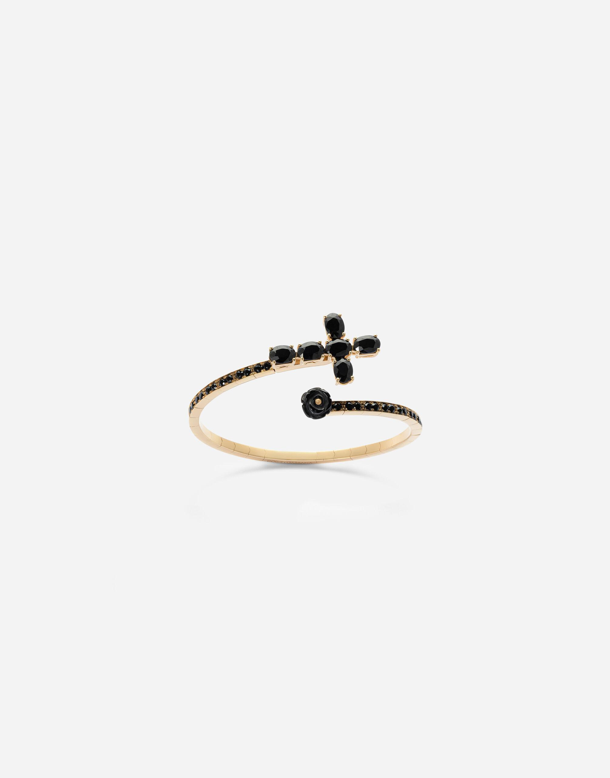 Family yellow gold bracelet with cross, black sapphire and jade