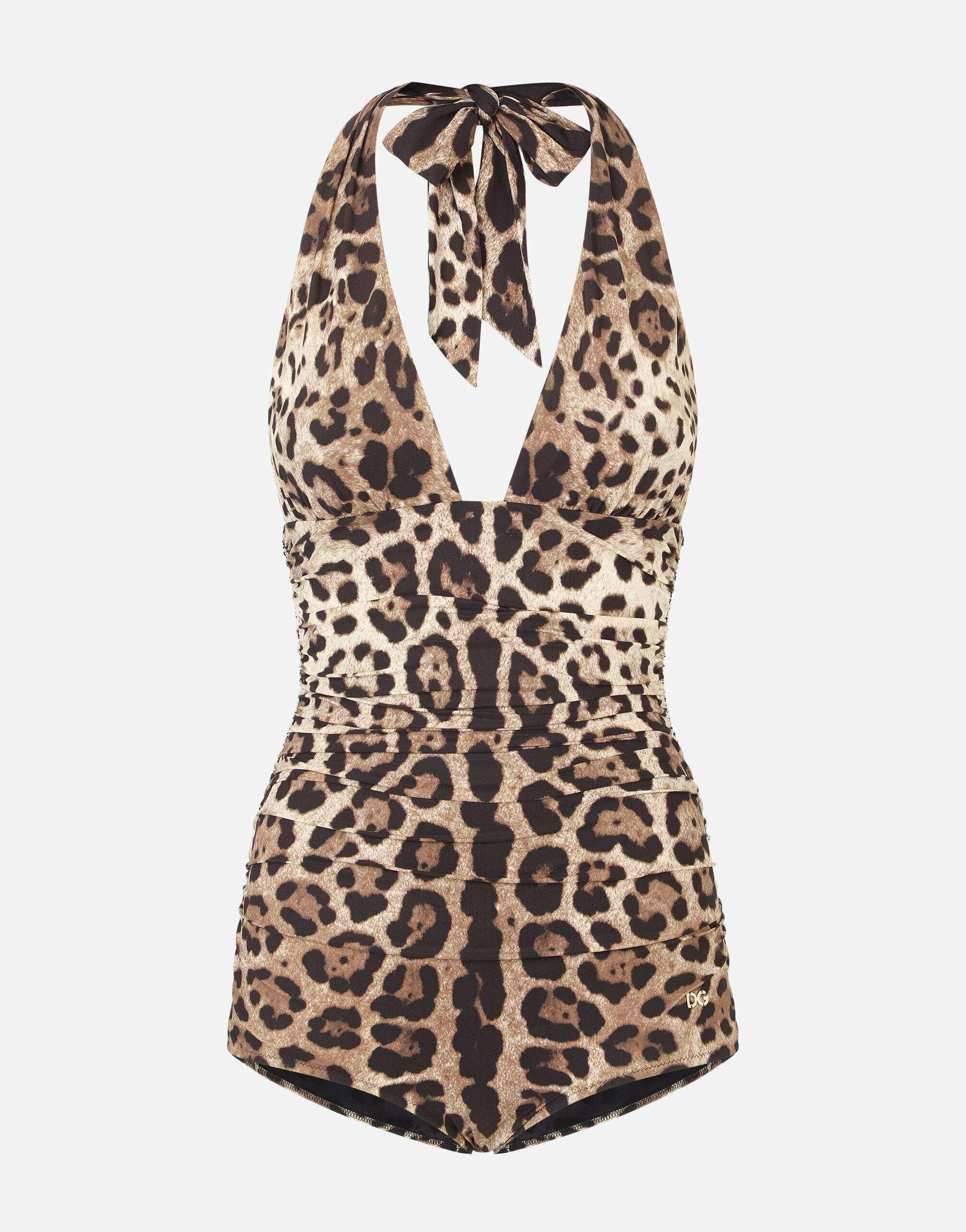Leopard-print one-piece swimsuit with plunging neckline 2