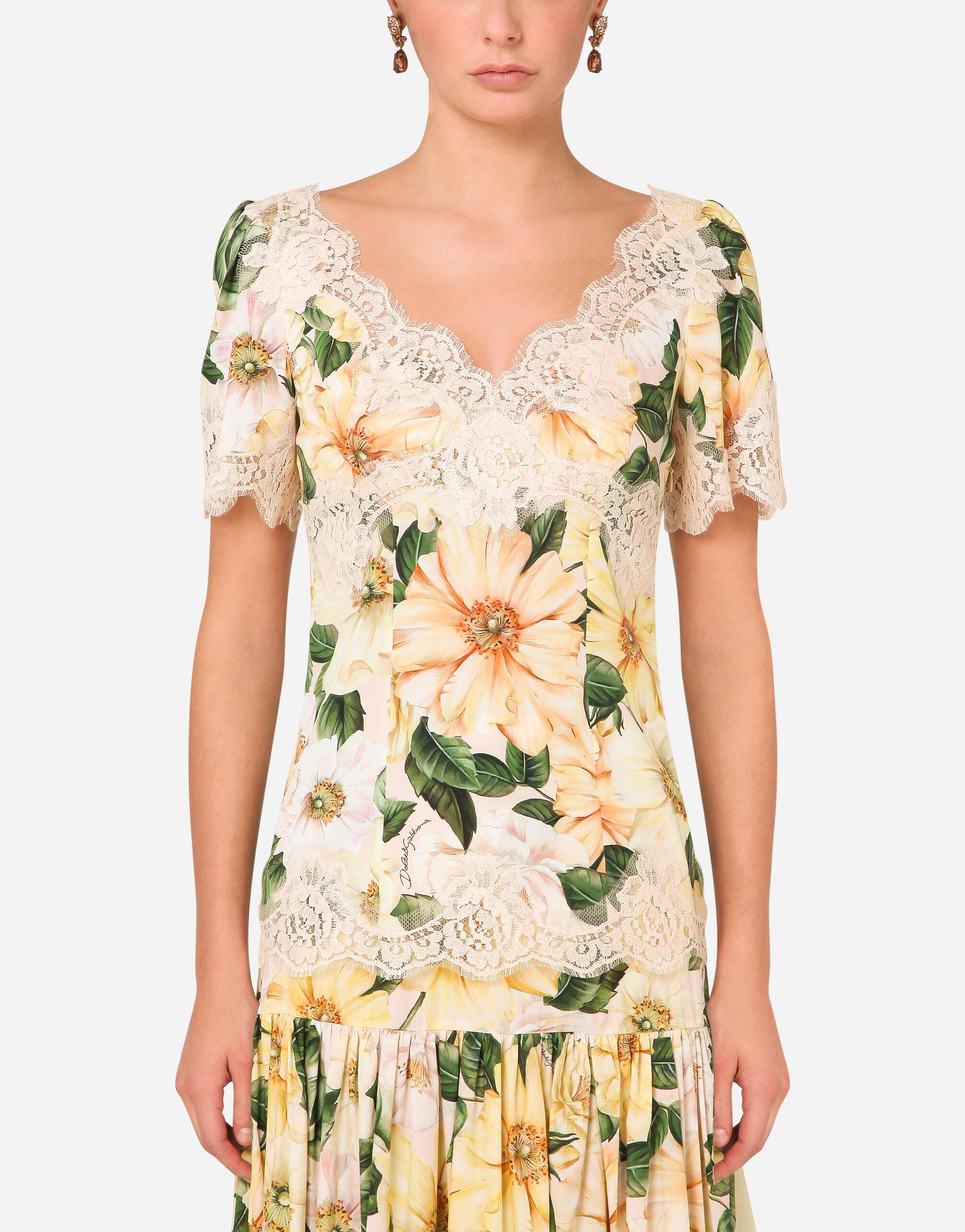 Camellia-print charmeuse top with lace details