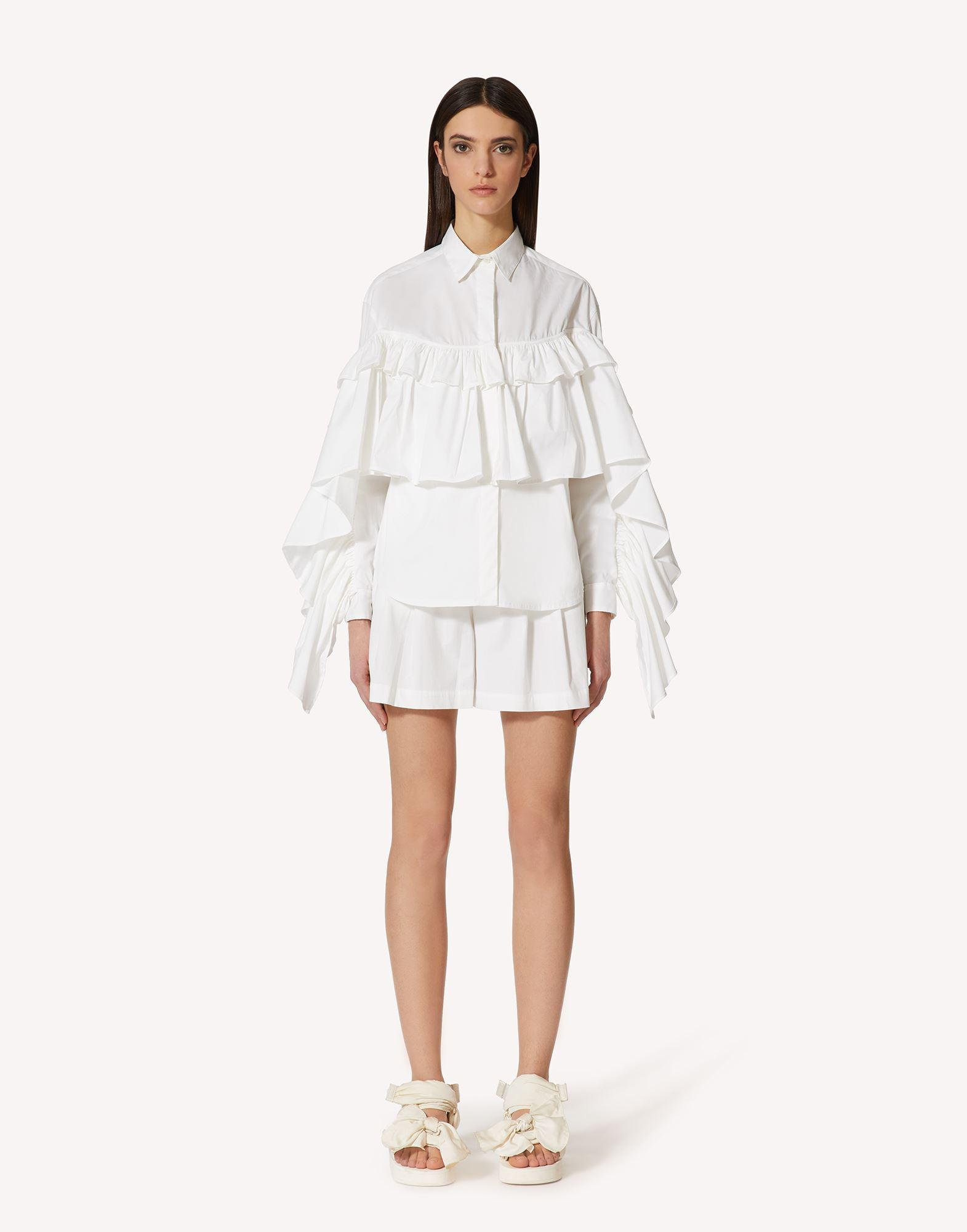 THE BLACK TAG. - COTTON POPLIN SHIRT WITH RUFFLE DETAIL