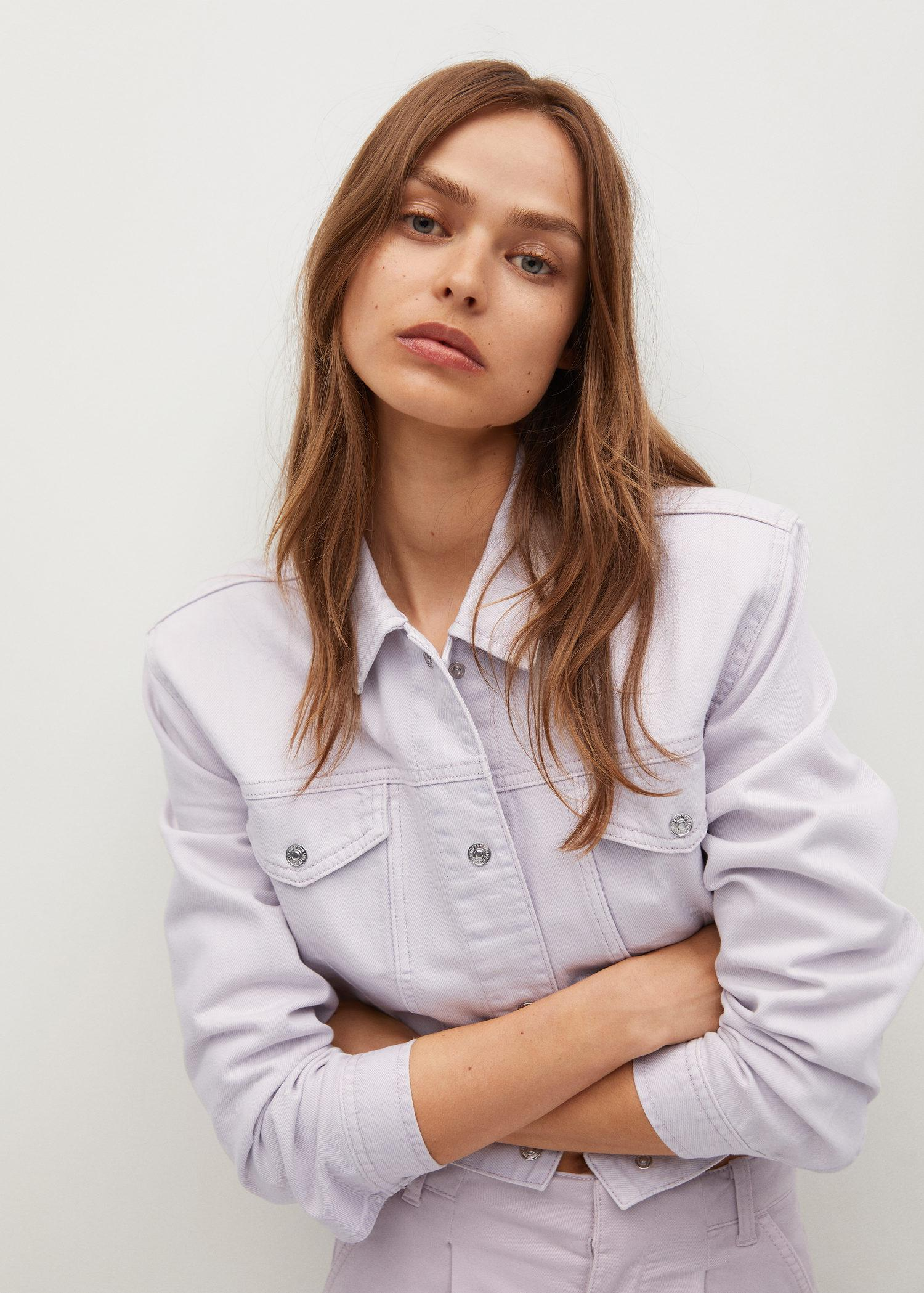 Cropped jacket with shoulder pads 0