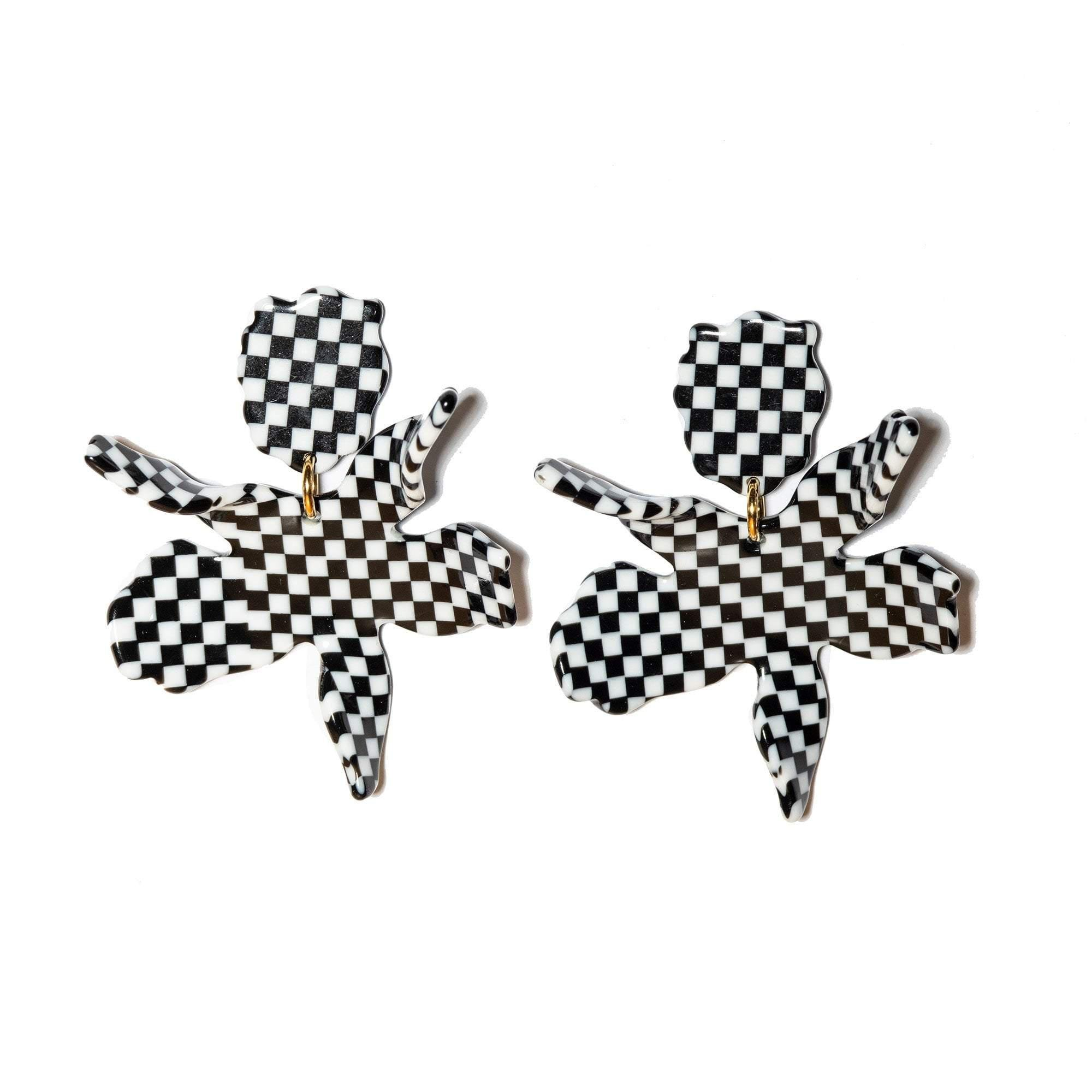 BLACK AND WHITE SMALL PAPER LILY EARRINGS