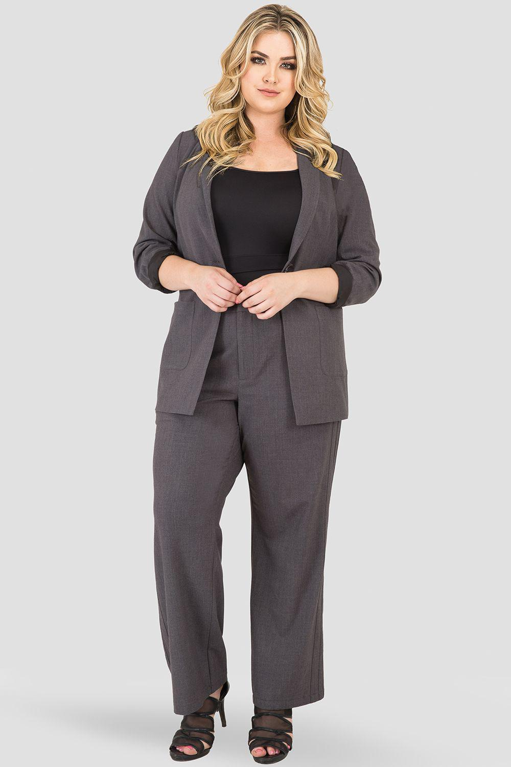 Plus Size Athletic Stripe High Waisted Wide Leg Suit Pants - Charcoal Gray