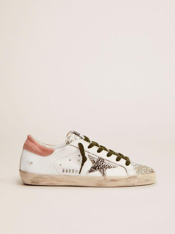 Super-Star LTD sneakers with silver glitter and animal-print pony skin star