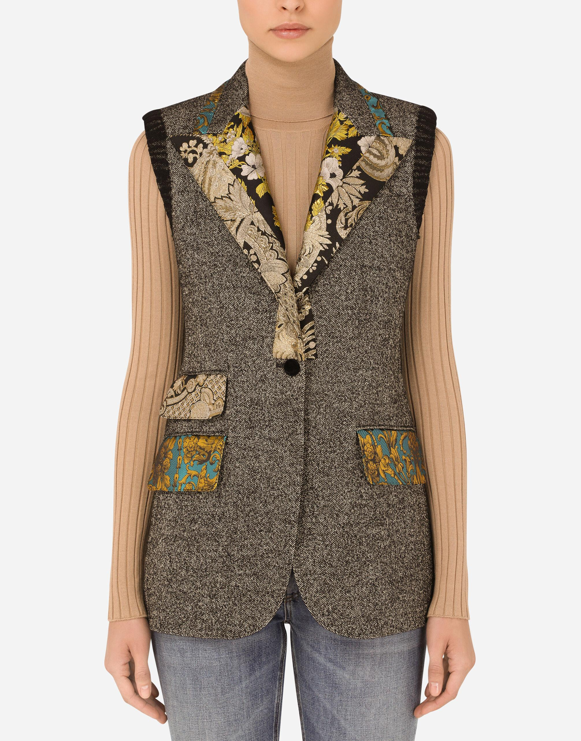 Micro-patterned wool vest with jacquard details