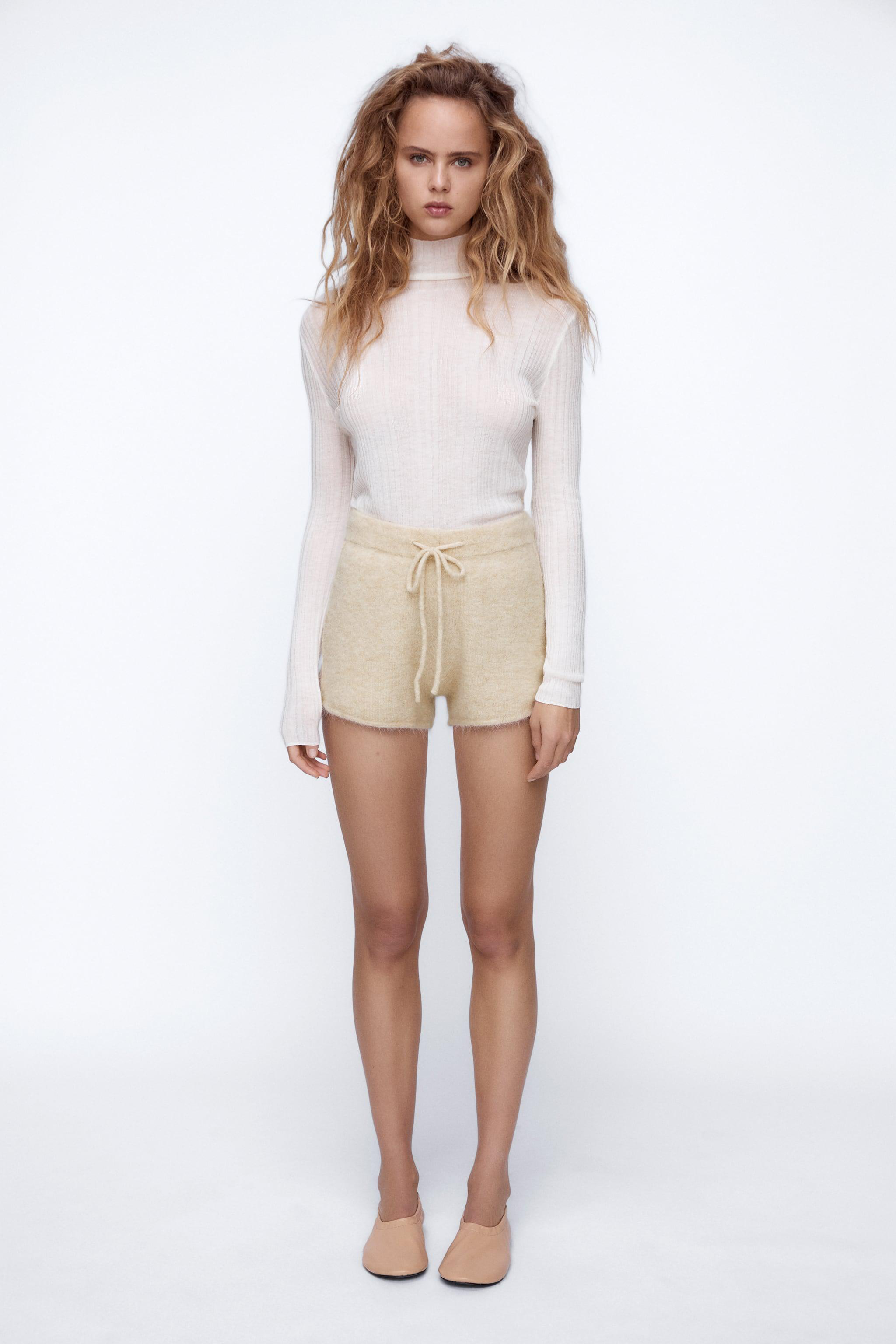WOOL AND ALPACA BLEND KNIT SHORTS