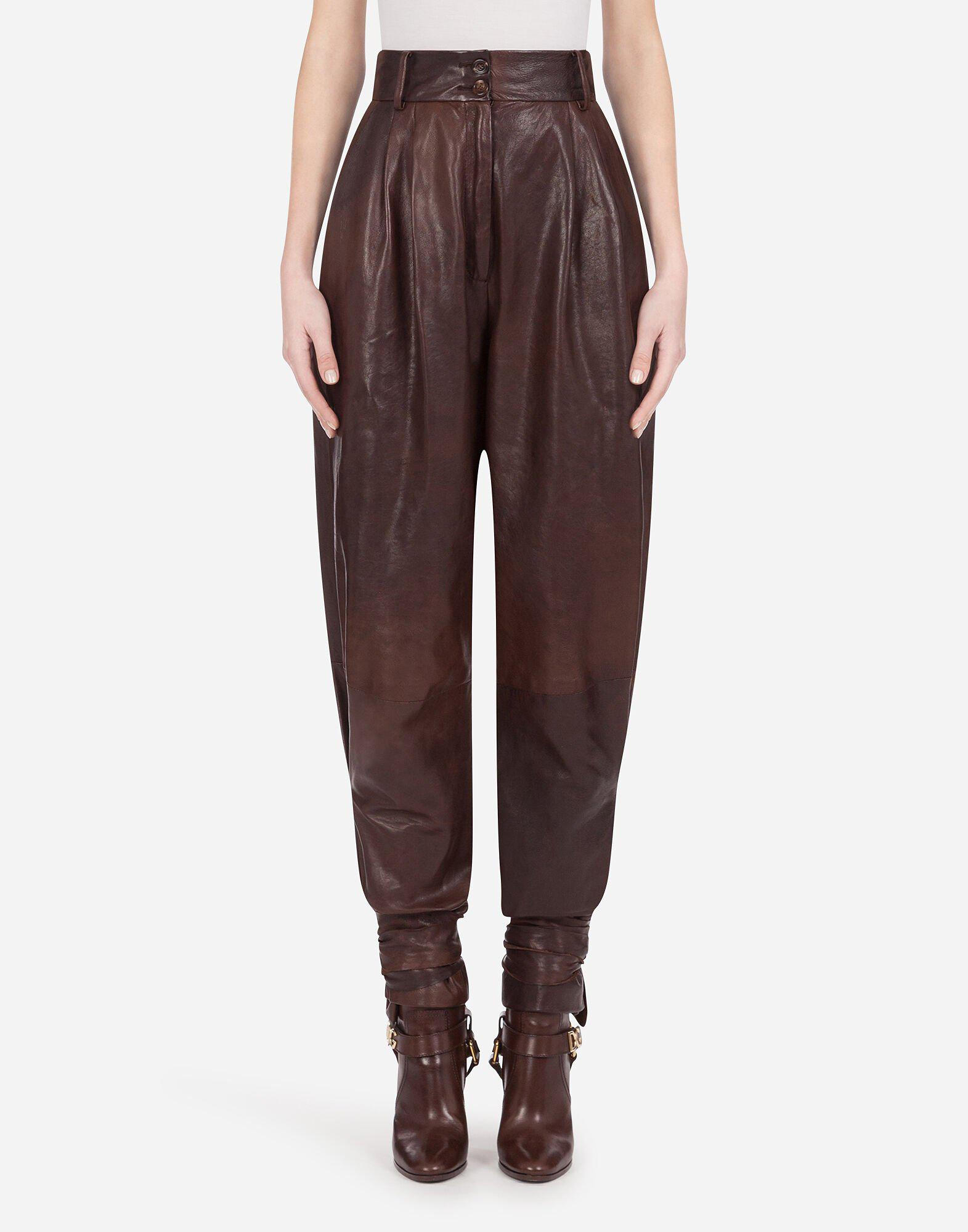 Pants in nappa leather with ties