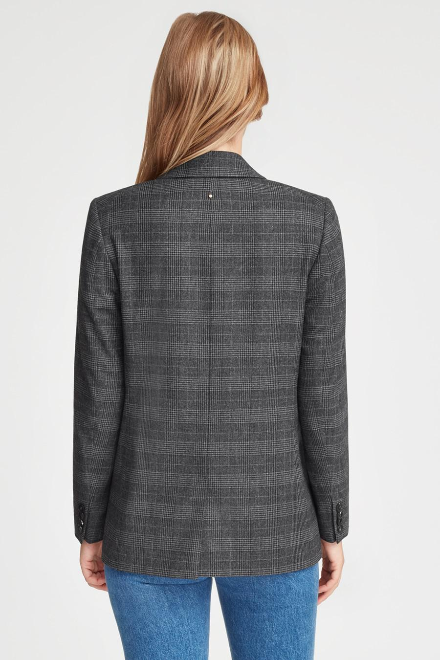 Women's Wool Double-Breasted Blazer in Grey Plaid   Size: 2