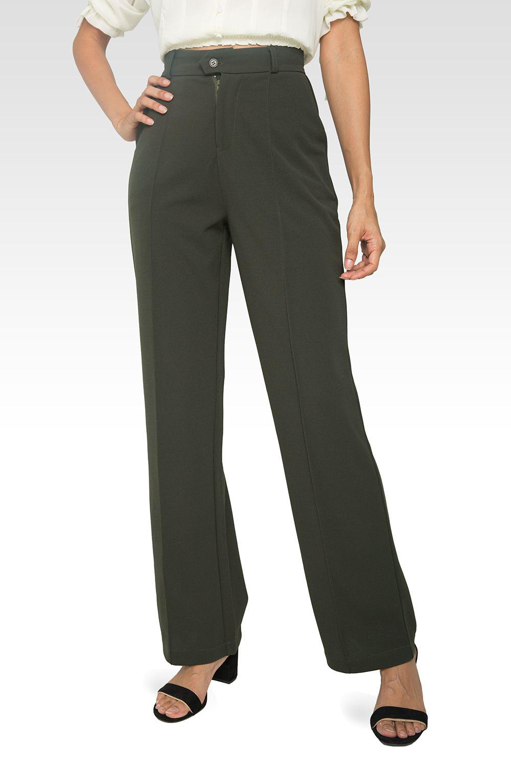 Erica Pintuck Stretch Crepe Wide Leg Trouser - Olive