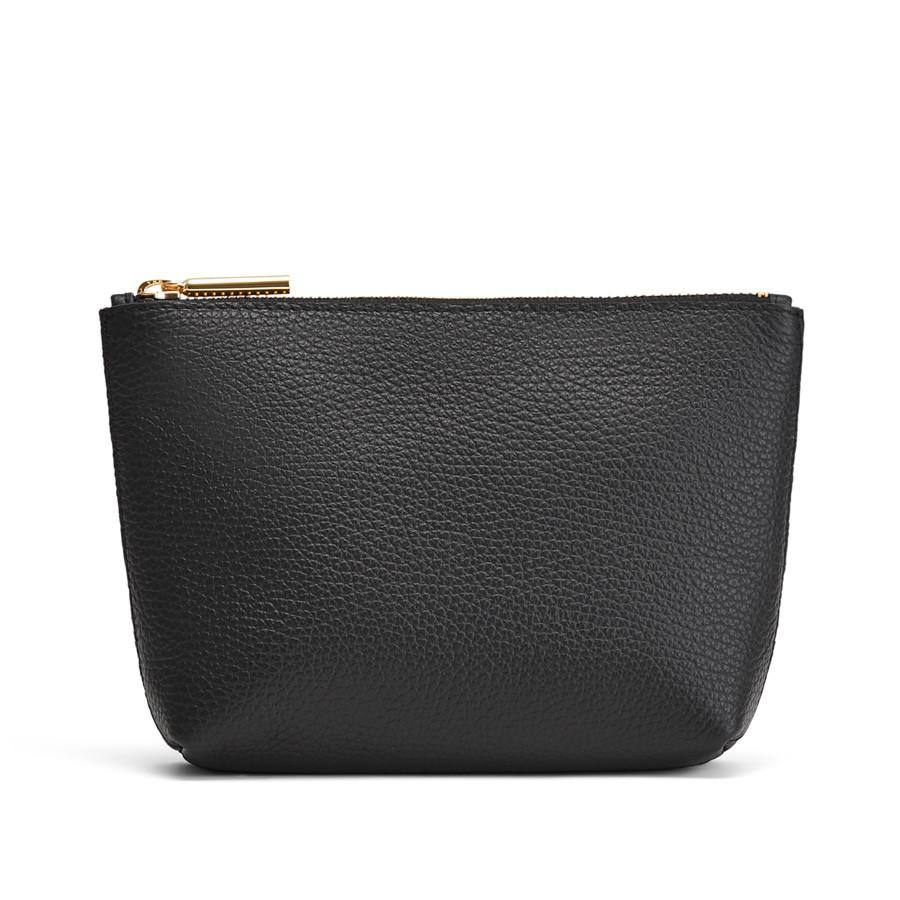 Women's Mini Leather Zipper Pouch in Black | Pebbled Leather by Cuyana
