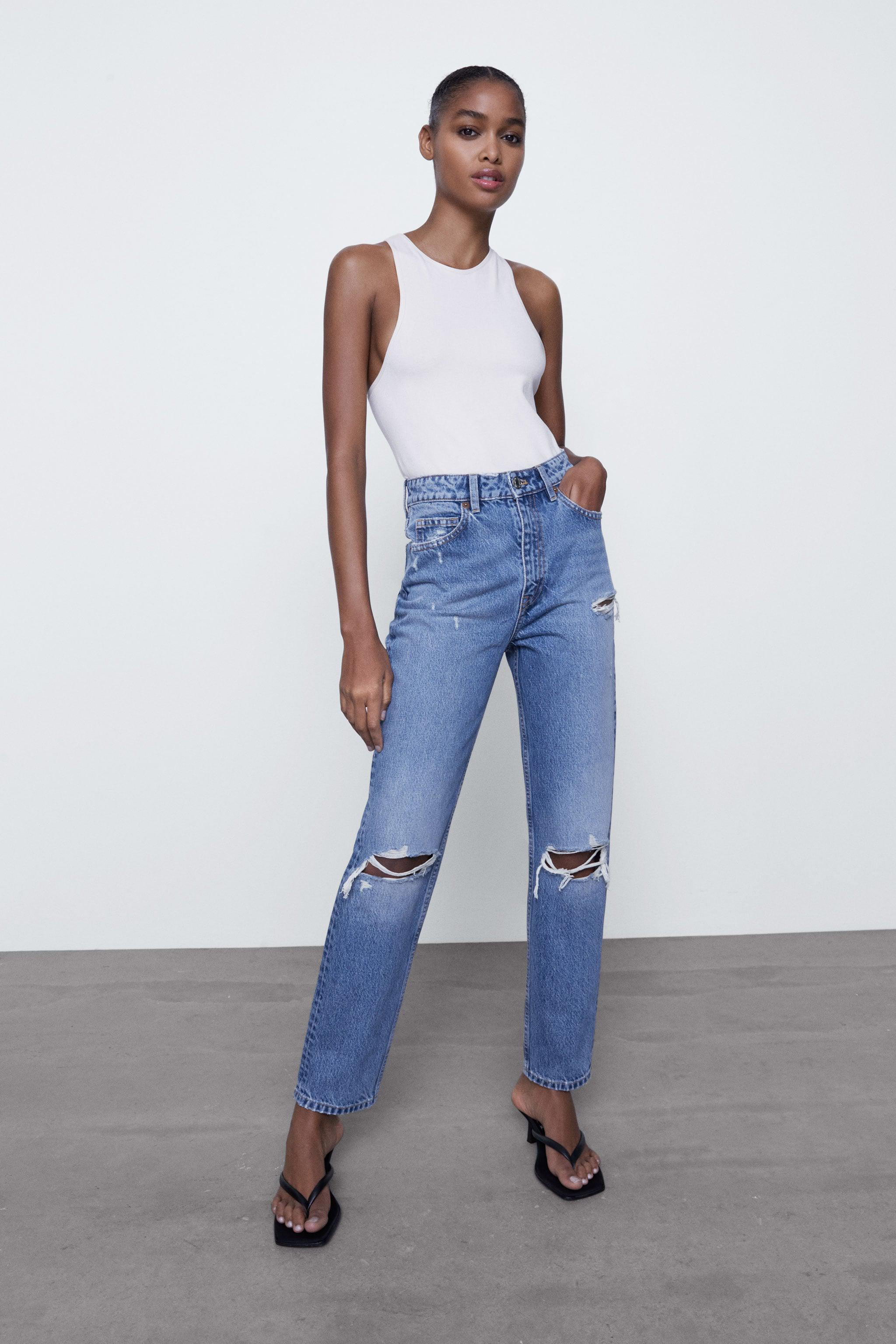 RIPPED MOM FIT JEANS 0
