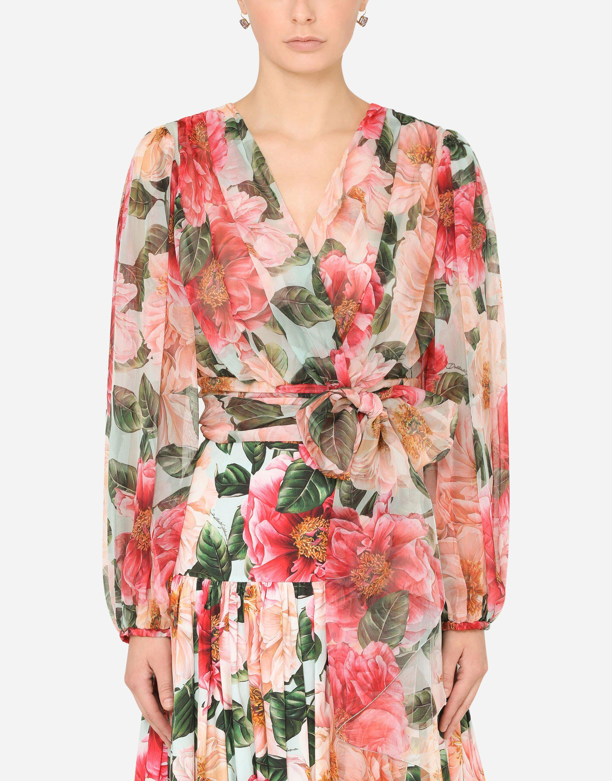 Long-sleeved chiffon top with camellia print