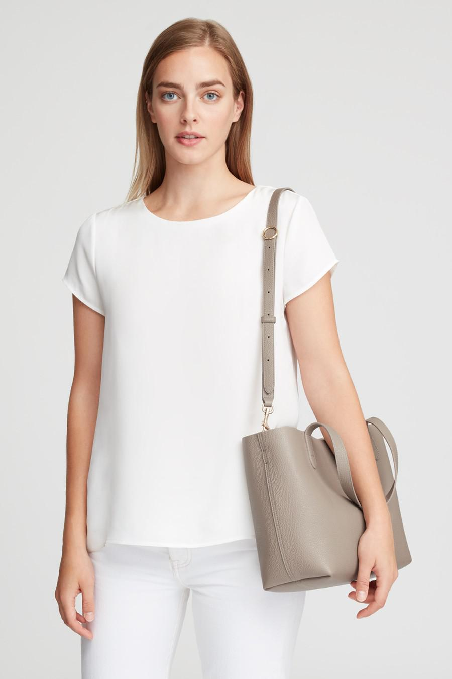 Women's Small Structured Leather Tote Bag in Stone/Blush Pink   Pebbled Leather by Cuyana 4