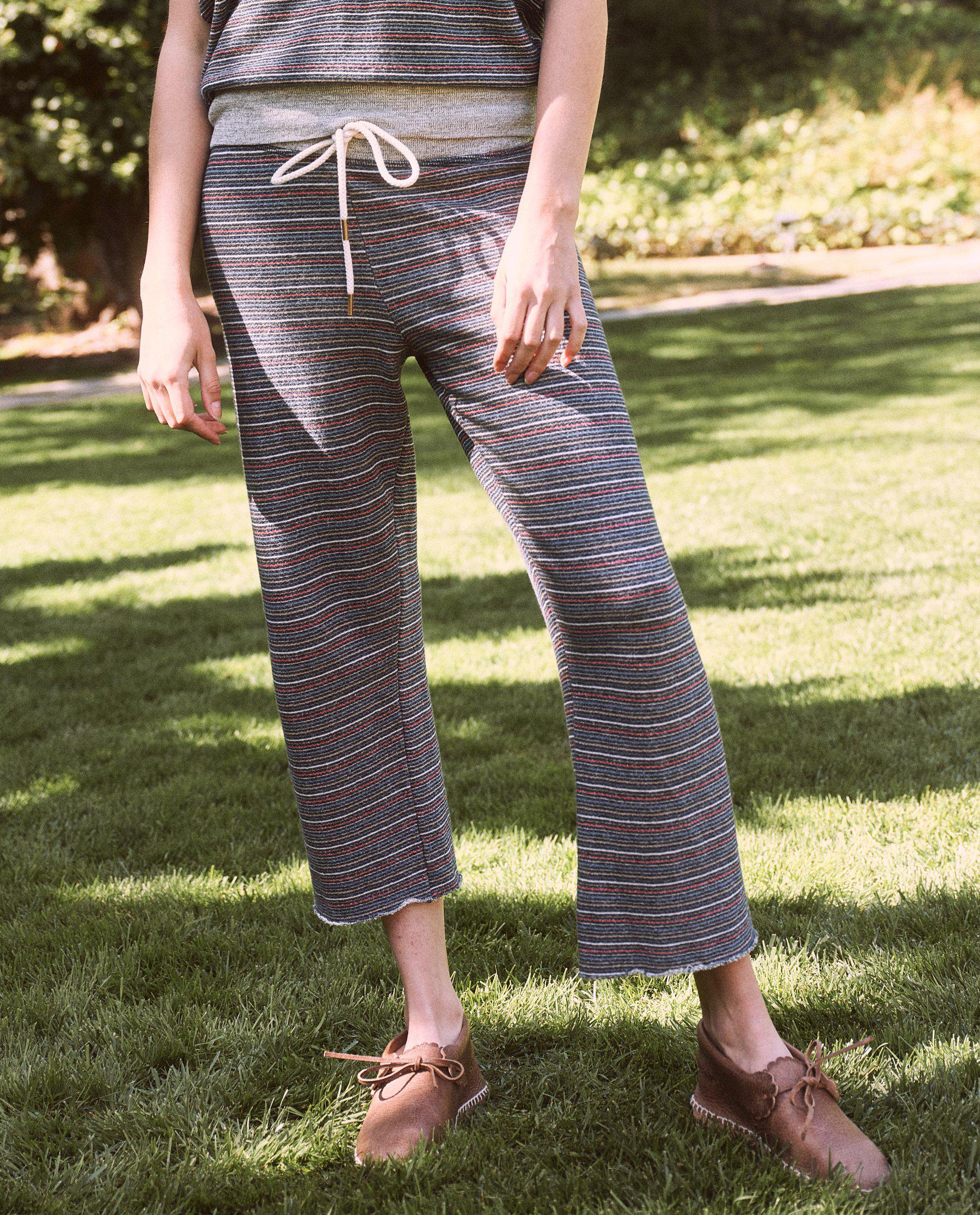 The Wide Leg Cropped Sweatpant. -- Navy Colorful Stripe