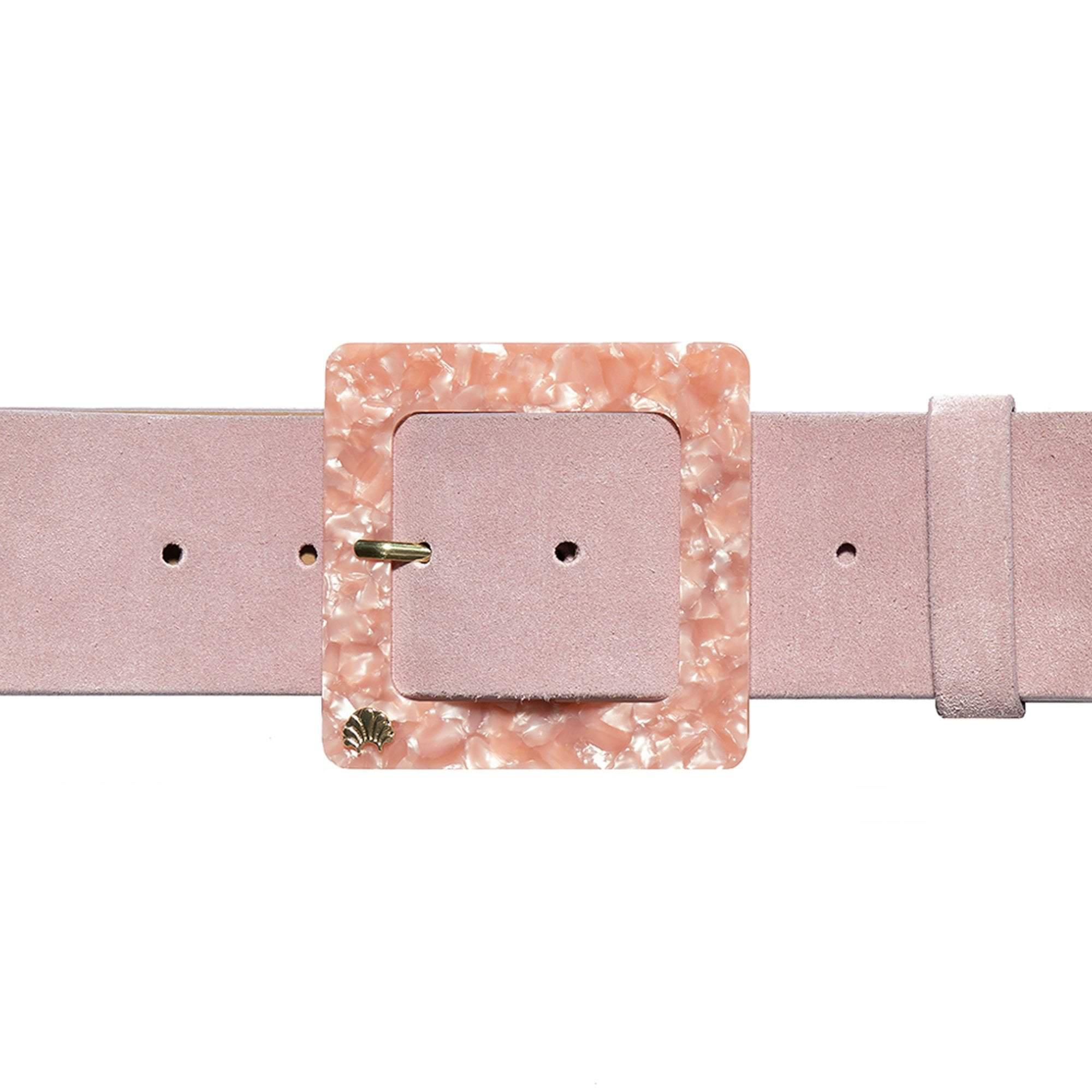 BLUSH SUEDE AND MARBLED ACETATE BELT