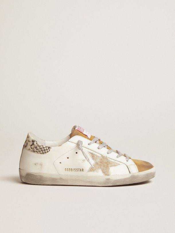 Super-Star sneakers made from shearling with snake-print heel tab