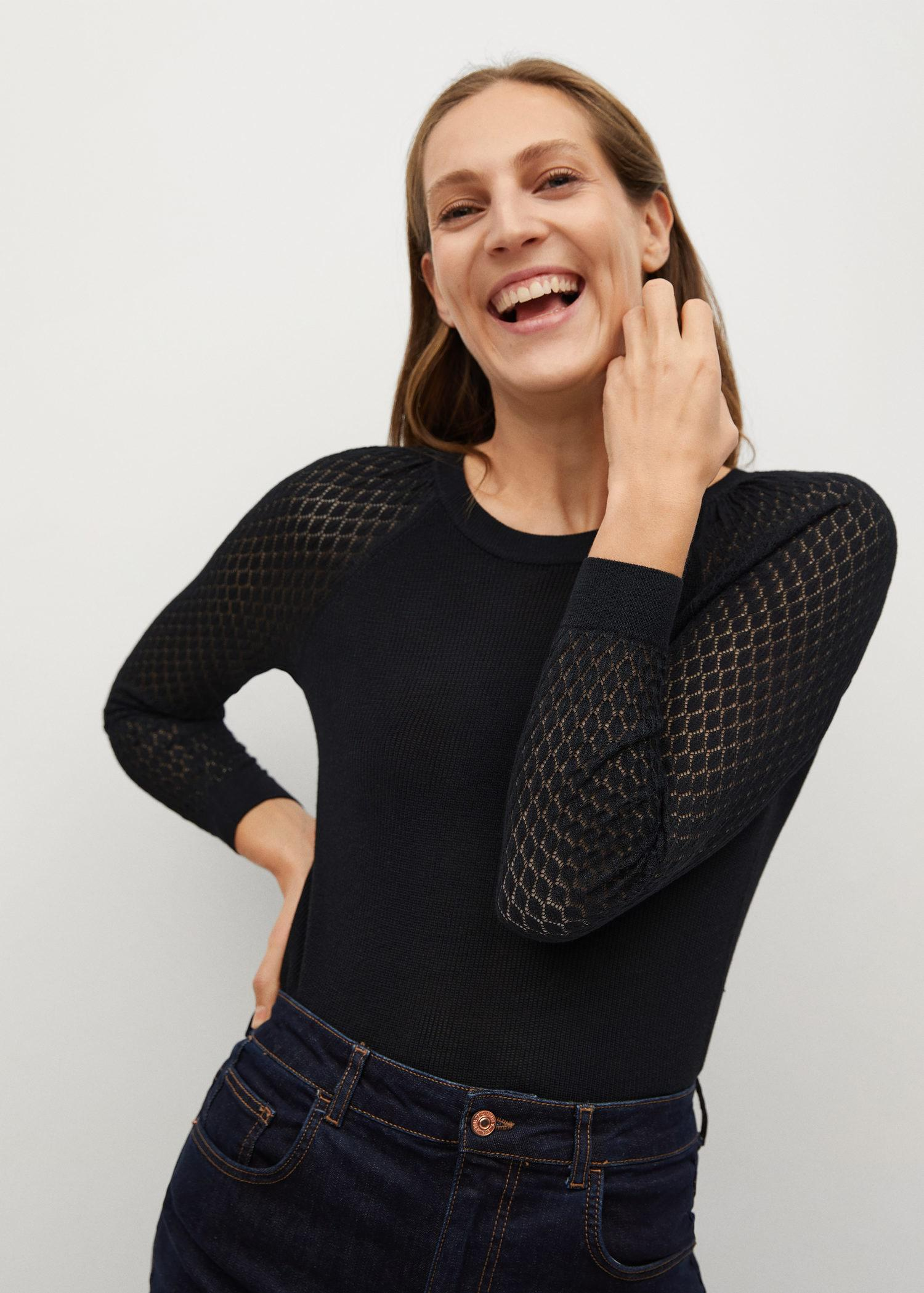 Sleeved sweater with openwork detail