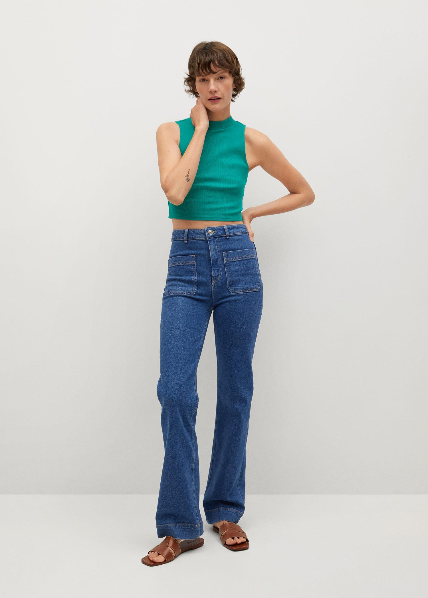 Ribbed cotton-blend top 1