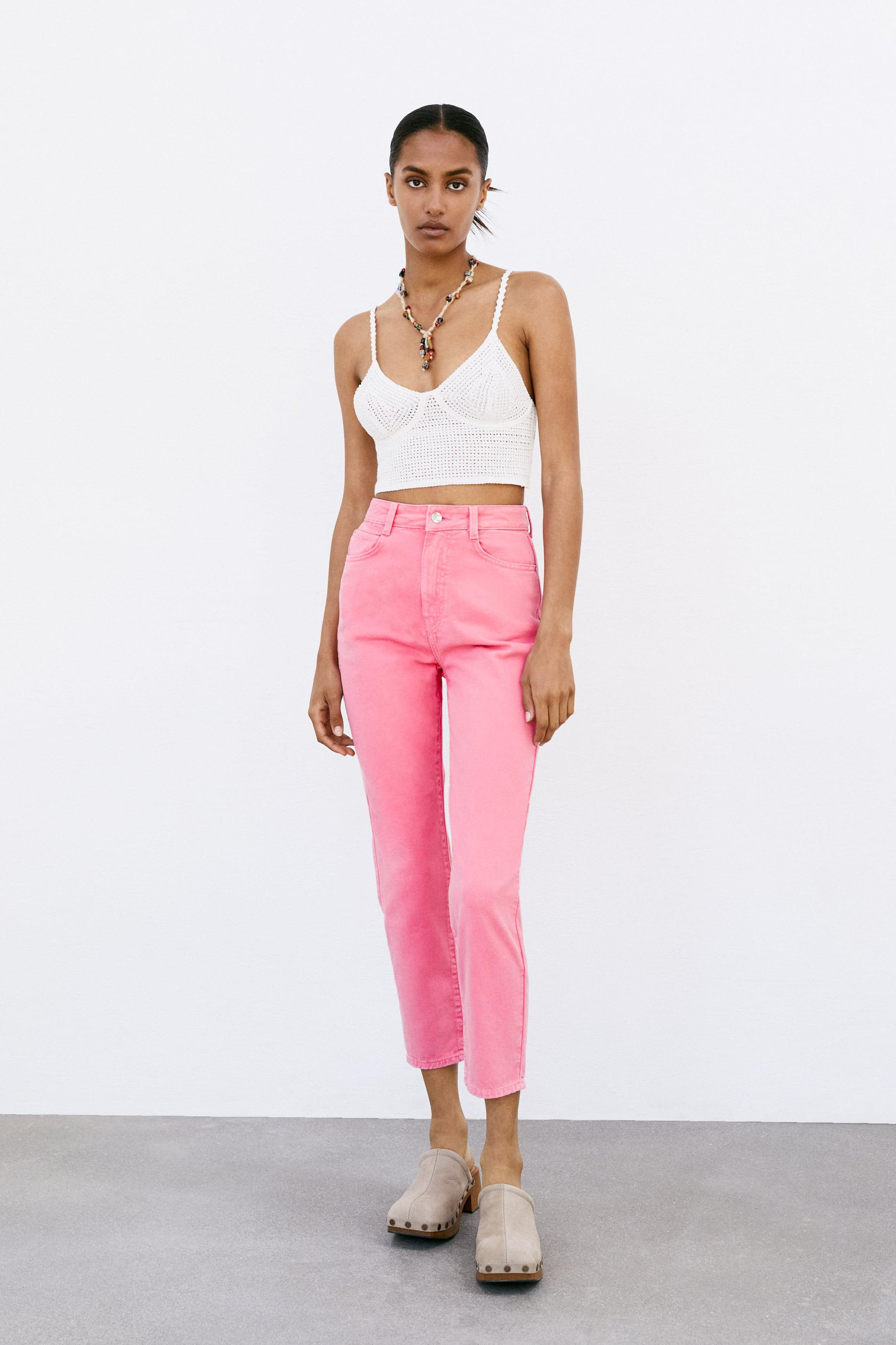 SOLID COLOR MOM FIT JEANS Z1975
