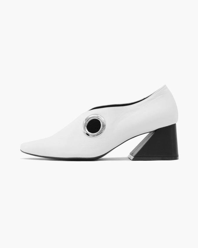 Eyelet Peek-a-Boo Loafer with Black Heel Leather White