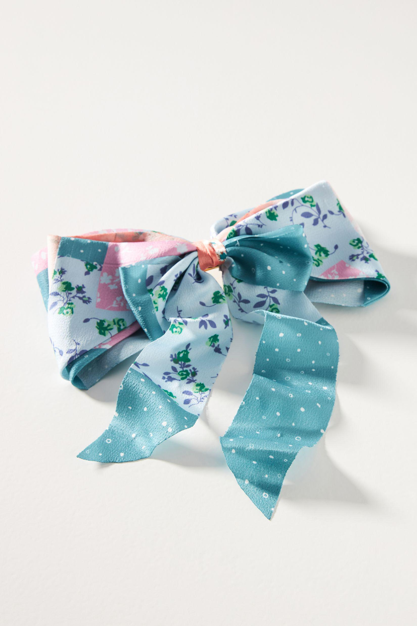 Colorblocked Floral Bow Hair Clip