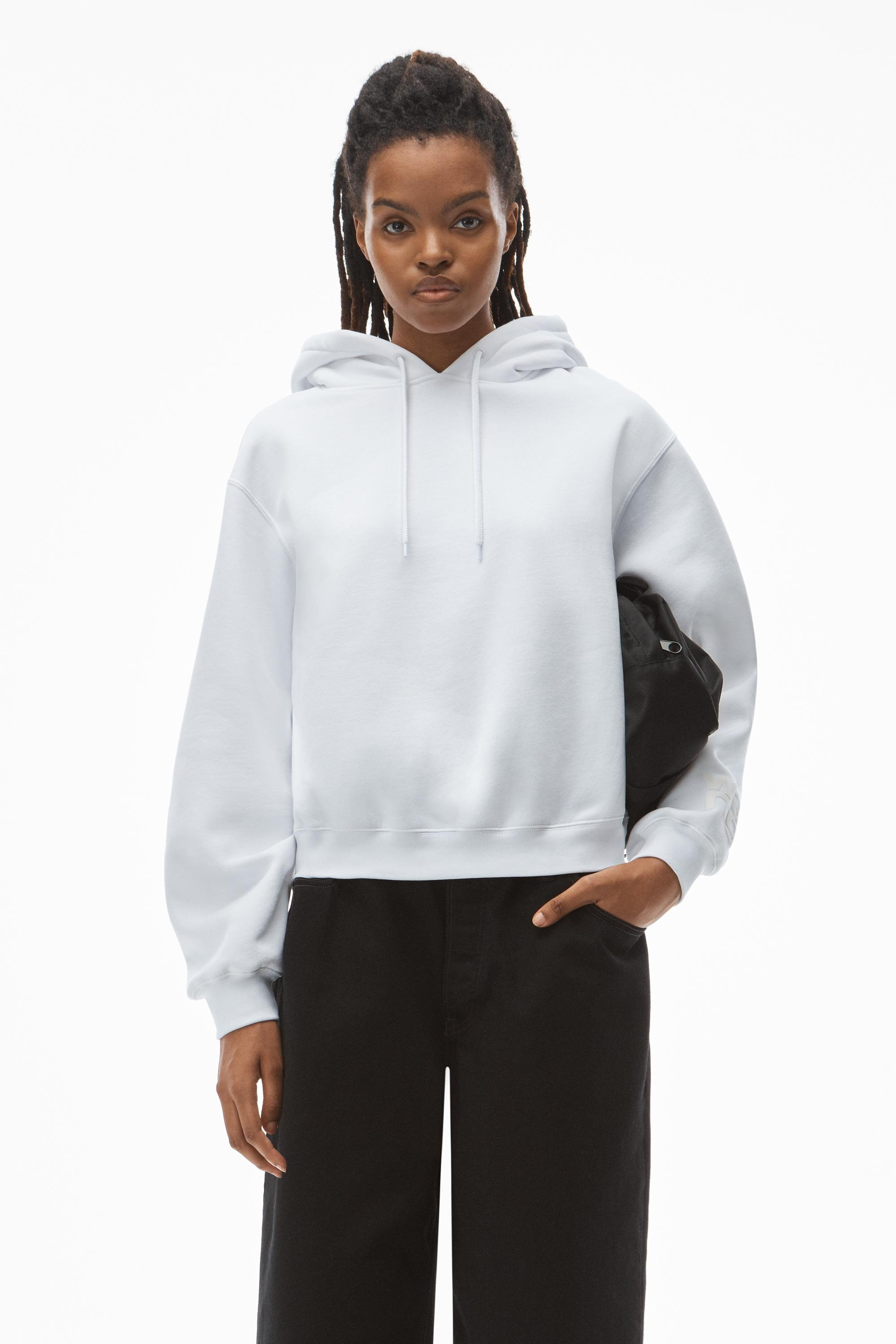 puff logo hoodie in structured terry