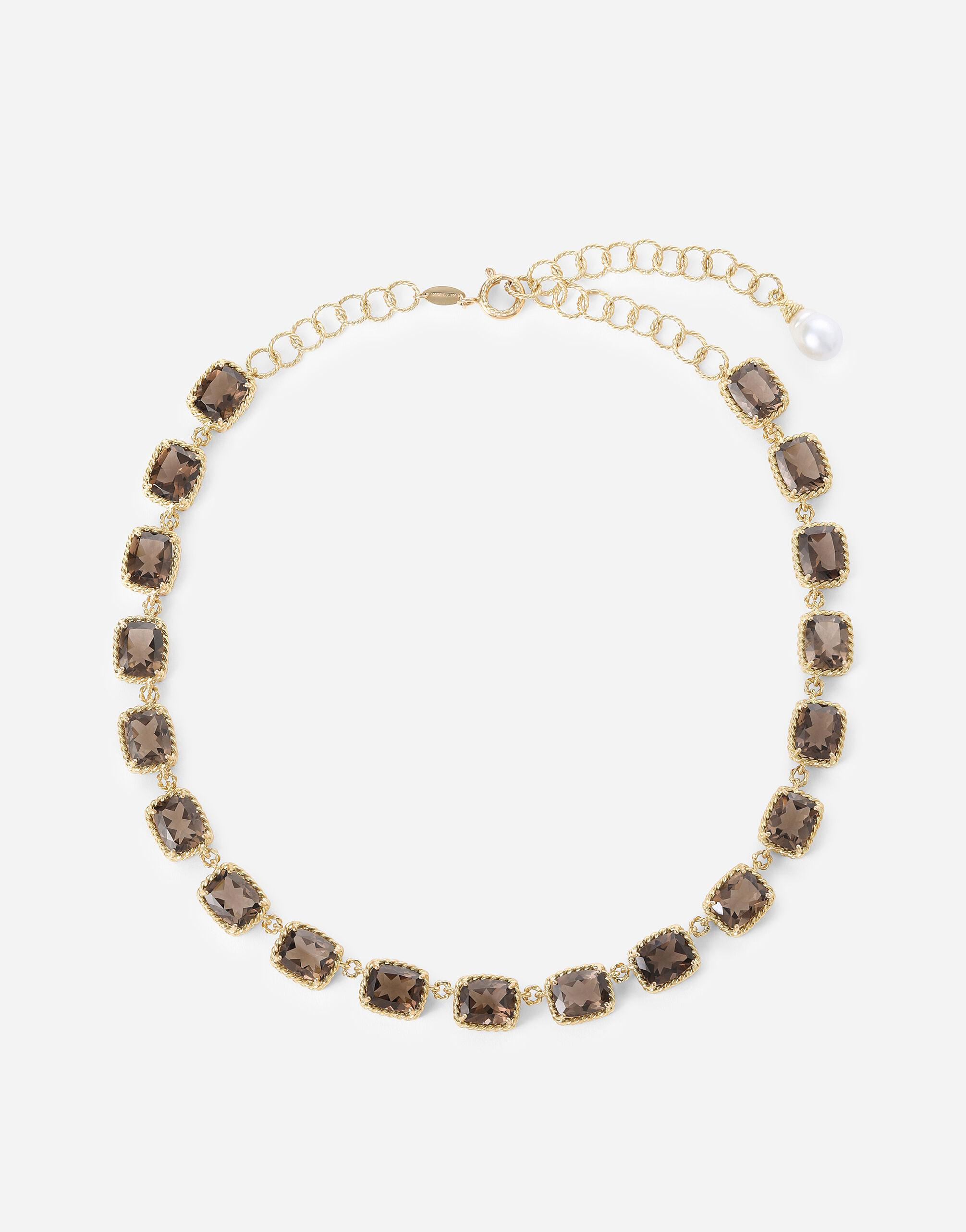 Anna necklace in yellow 18kt gold with smoky quartzes
