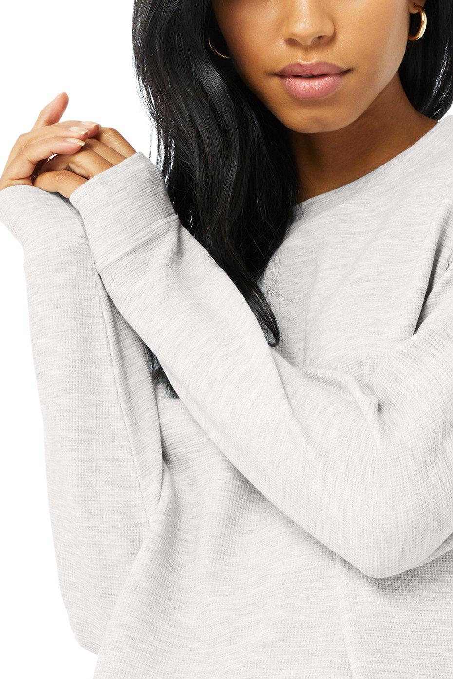 Micro Waffle Relaxation Pullover - Dove Grey Heather 6