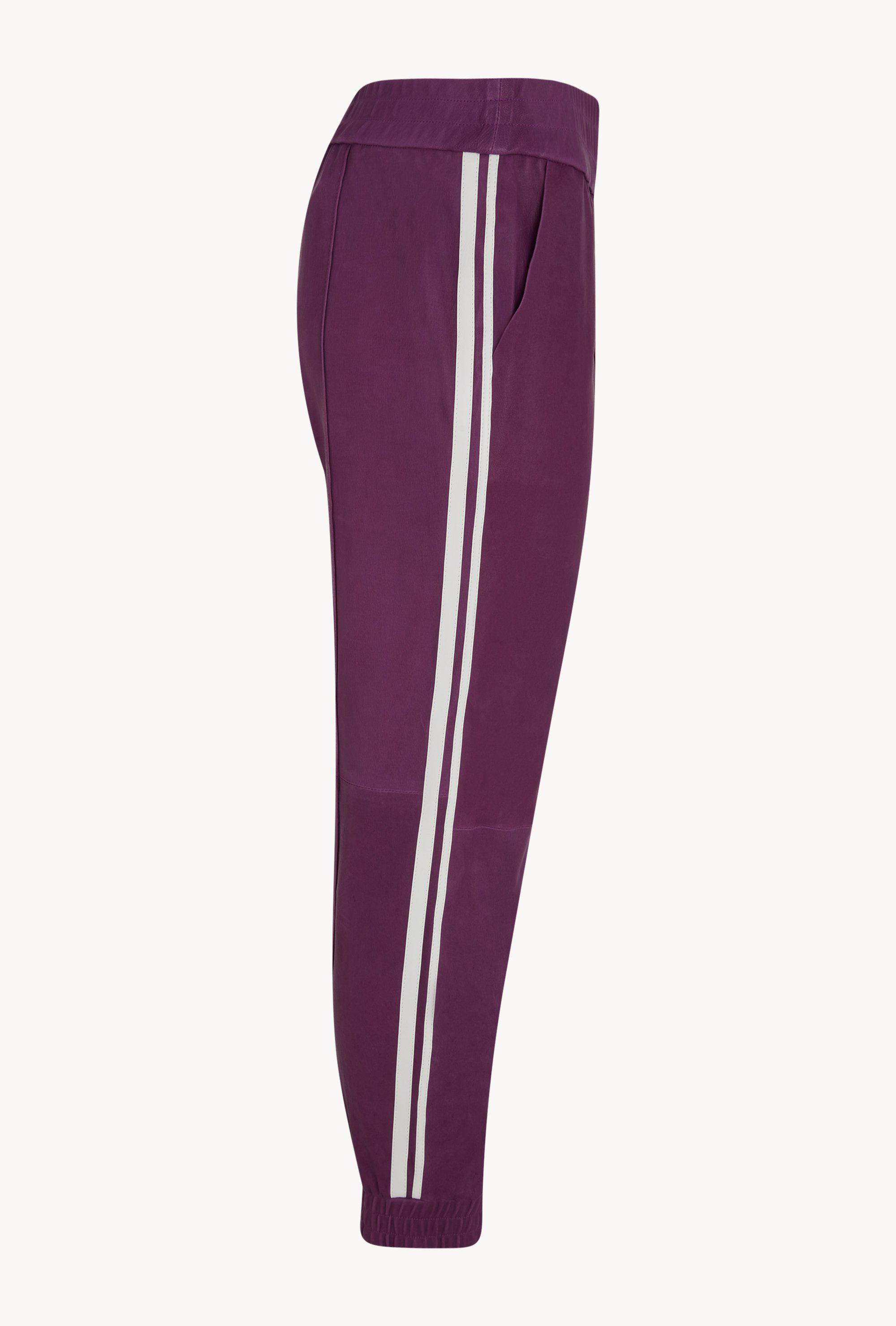 Magenta Athletic Slim Fit Leather Jogger