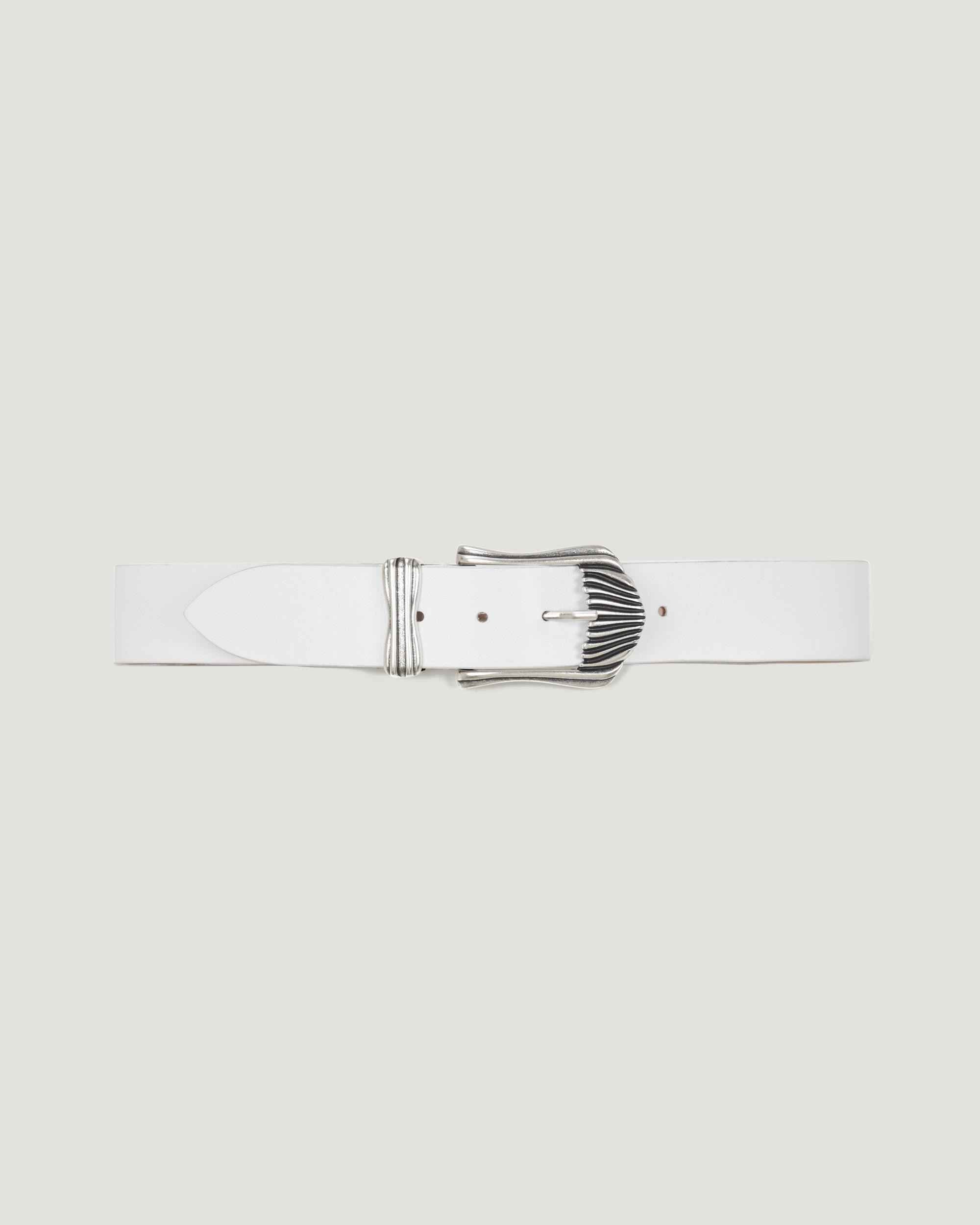 HECATE RIBBED SILVER BUCKLE LEATHER BELT