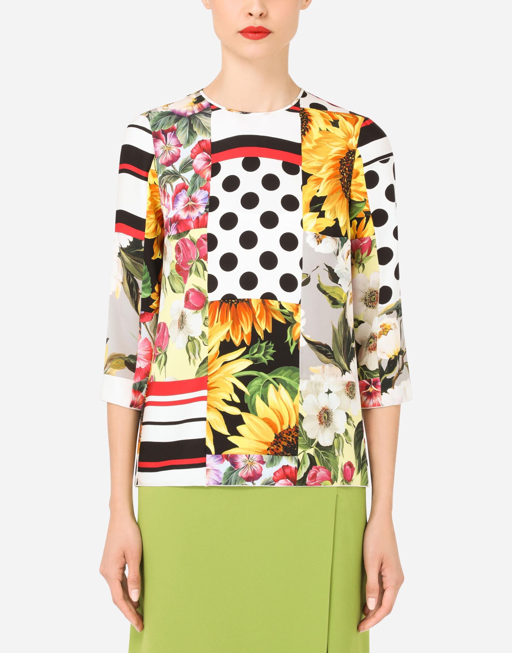 Patchwork charmeuse blouse