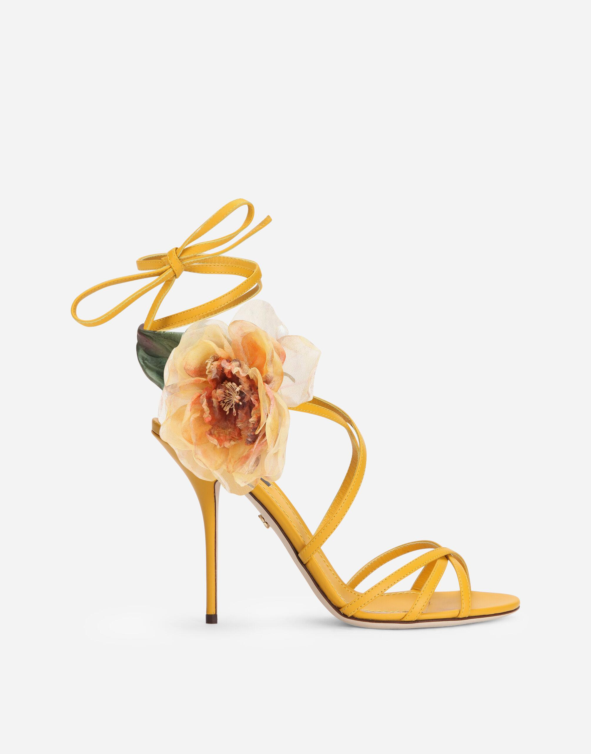 Nappa leather sandals with silk flower