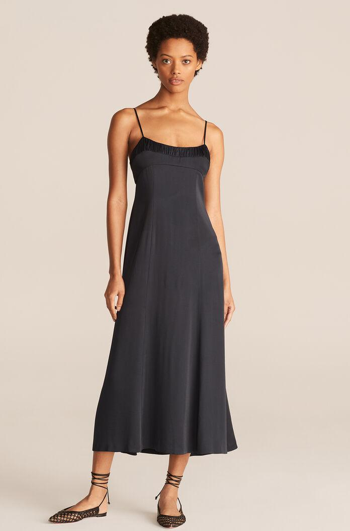 RUCHED TOP LONG DRESS