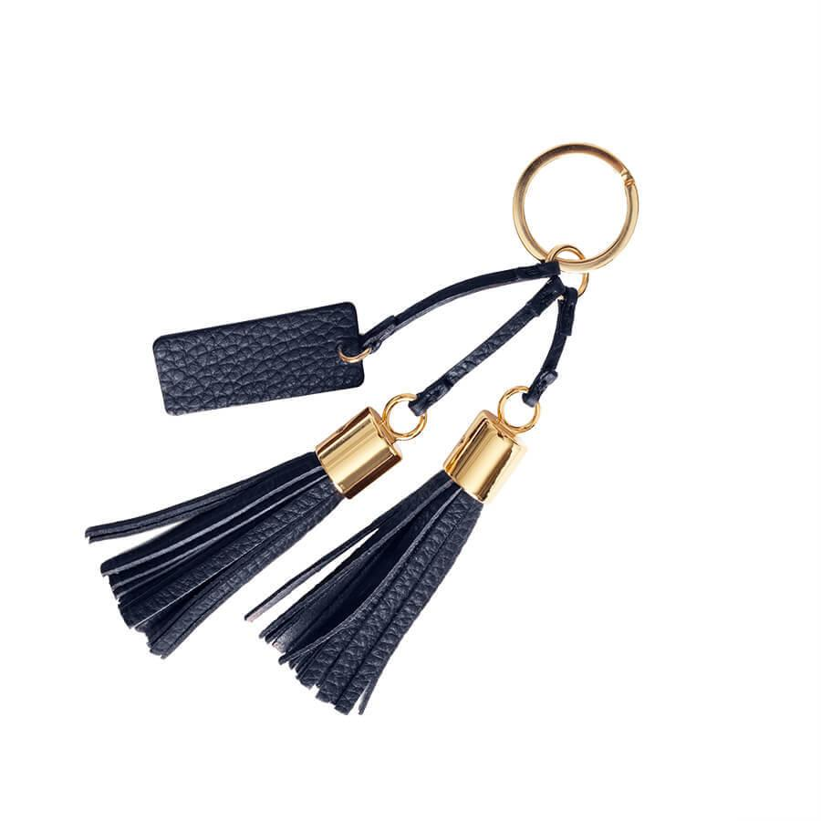 Women's Leather Tassel Keychain in Navy | Pebbled Leather by Cuyana