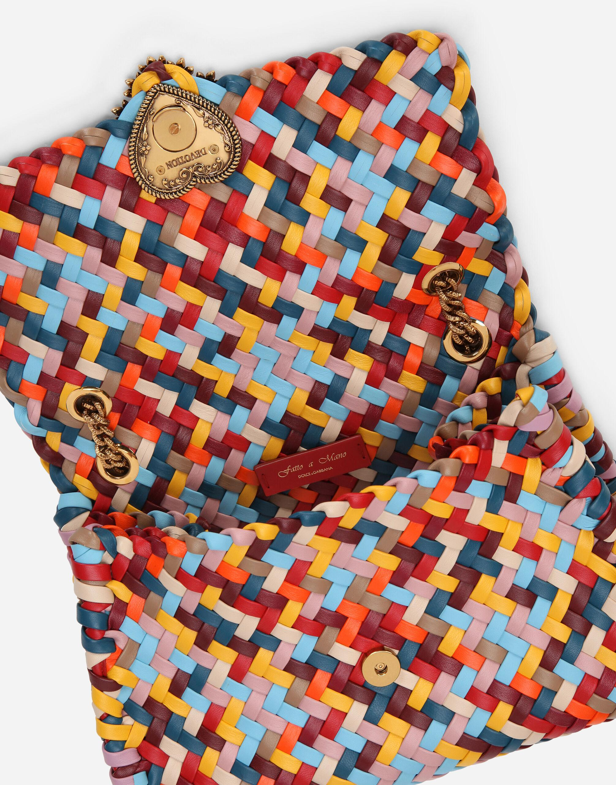 Large Devotion shoulder bag in multi-colored woven nappa leather 4