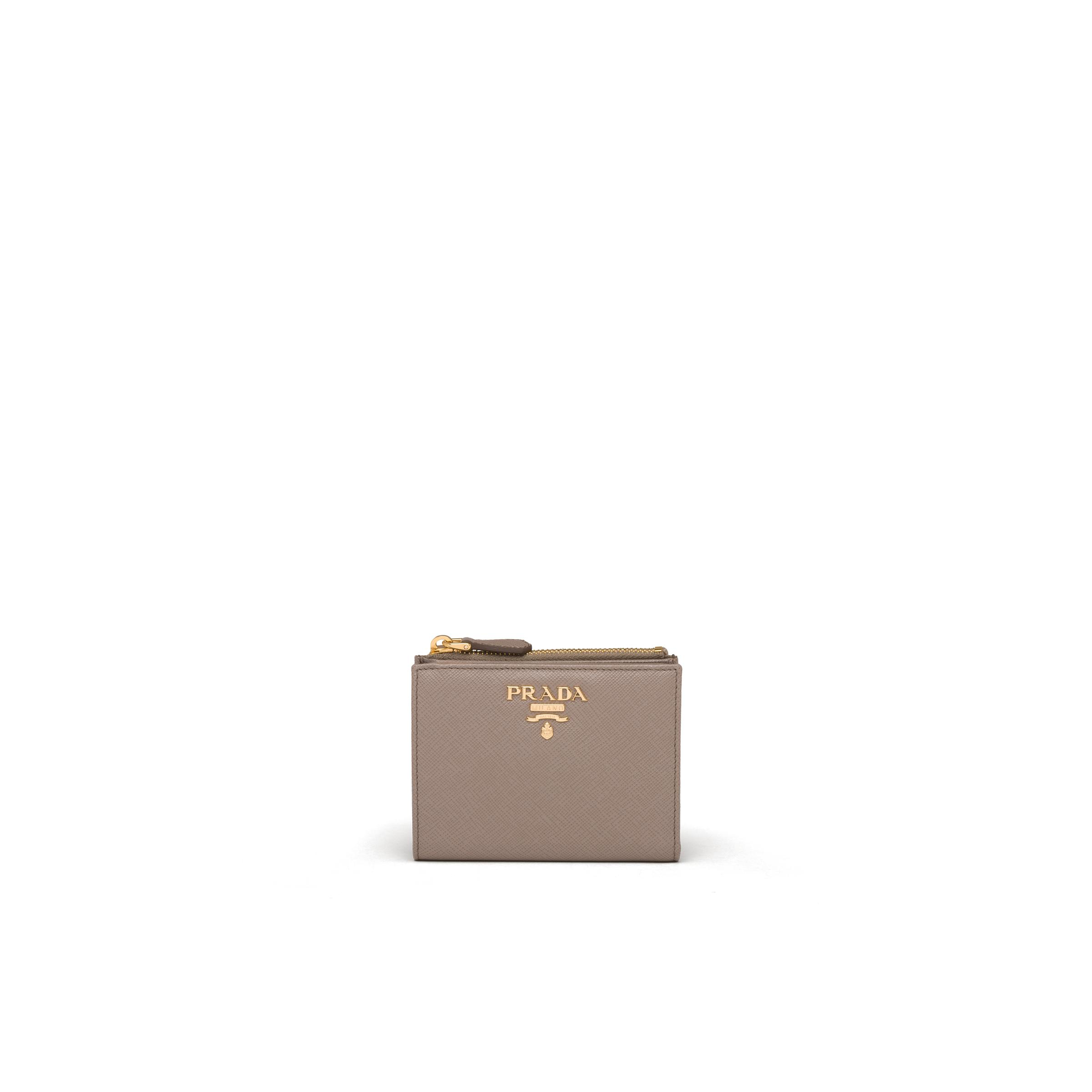 Small Saffiano Leather Wallet Women Clay Gray