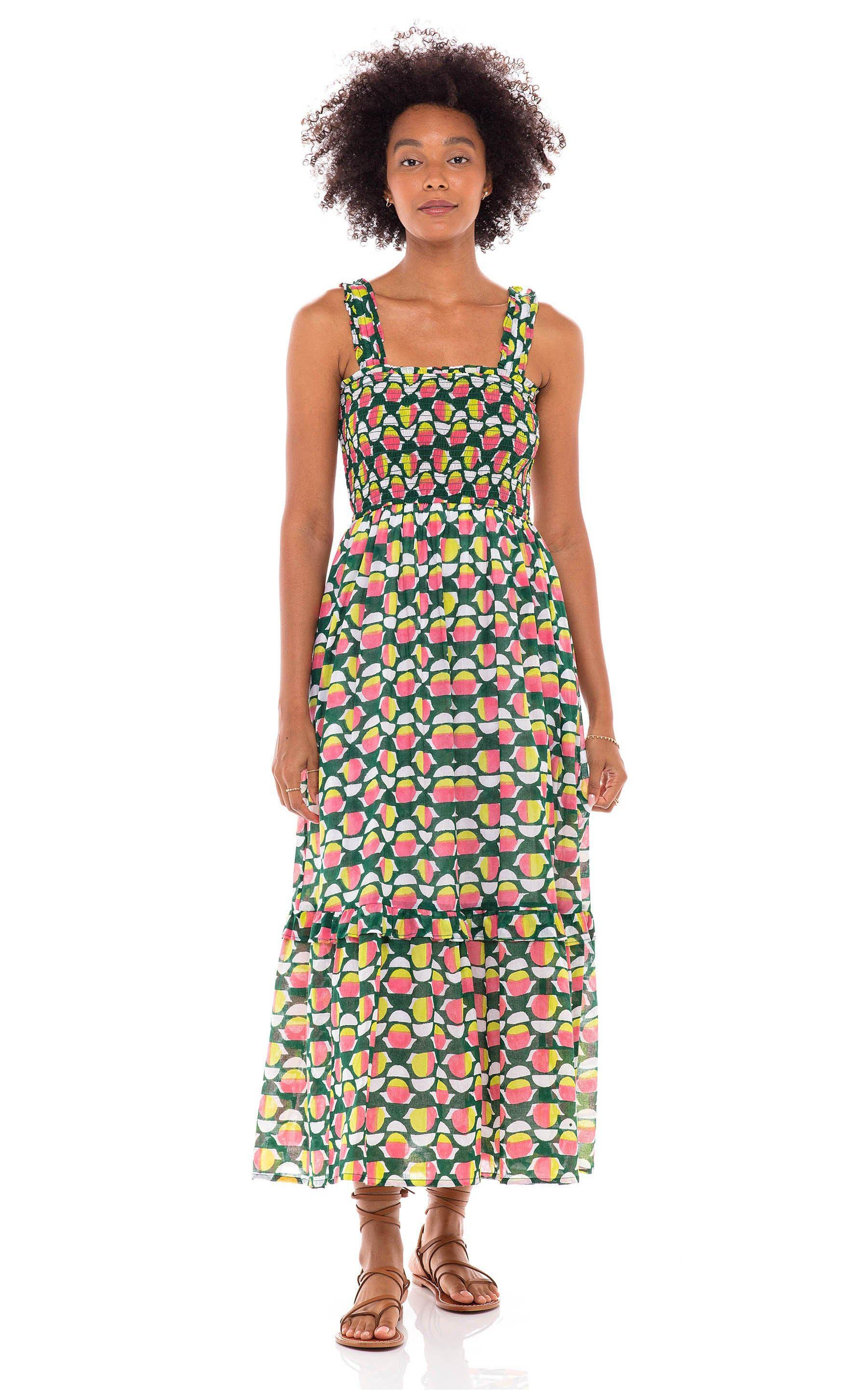 Dafina Dress Curlew Curve Lime Green