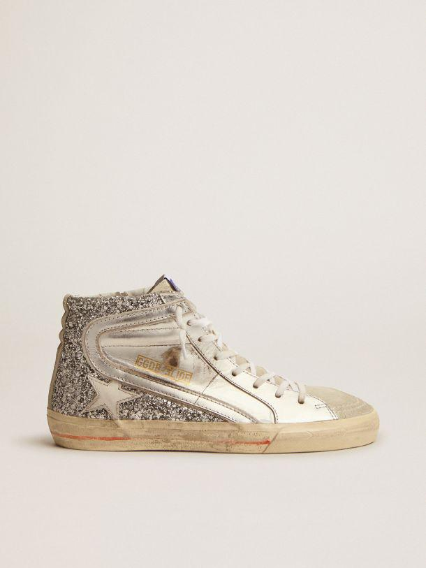 Slide sneakers with upper in laminated leather and silver glitter