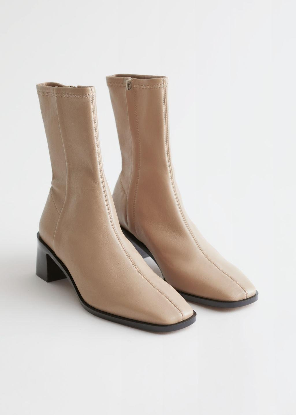 Squared Toe Leather Sock Boots