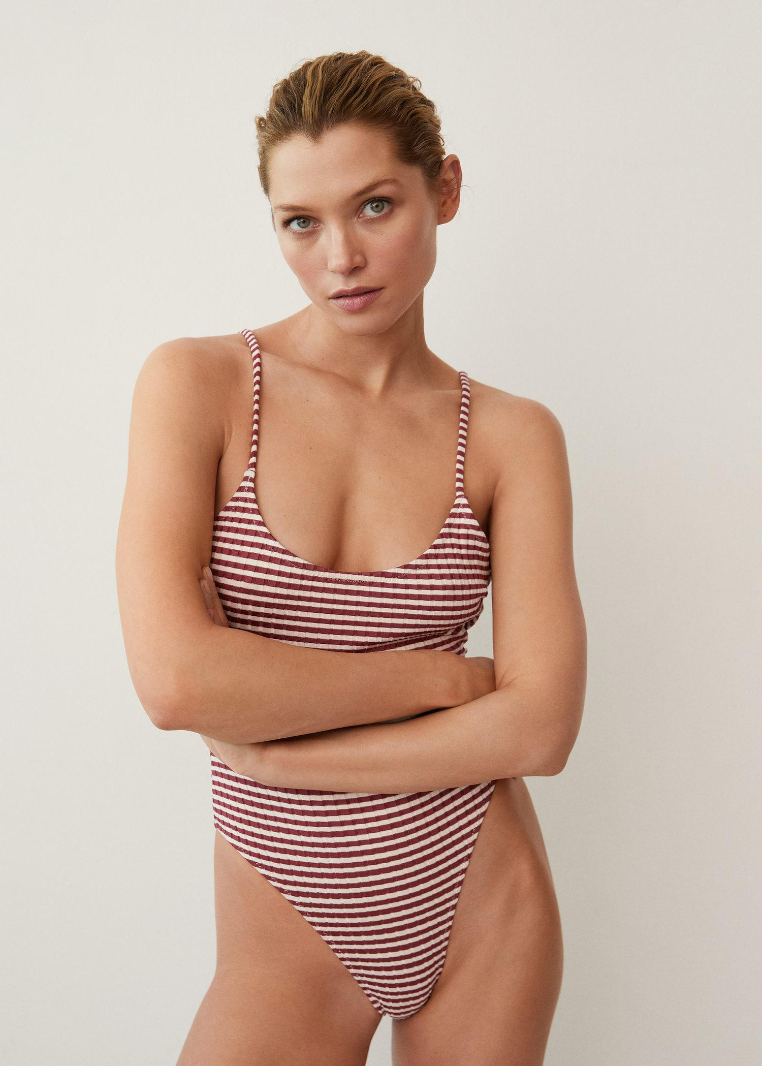 Striped textured swimsuit