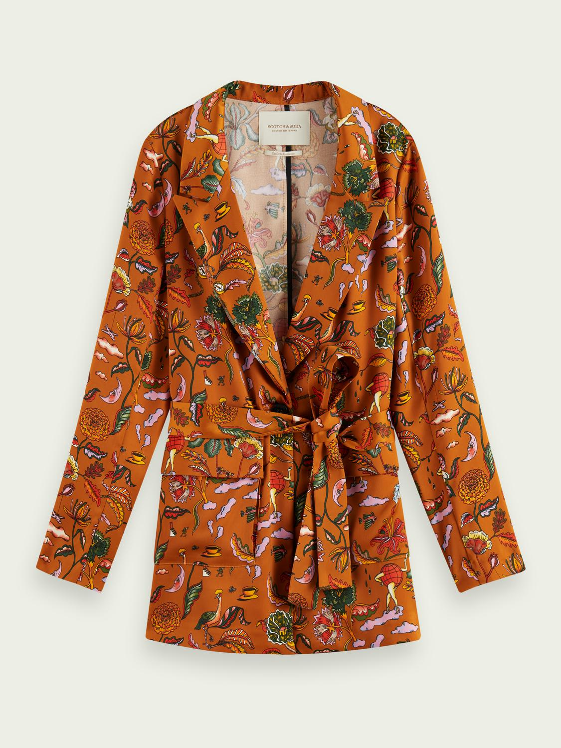 Printed belted single-breasted blazer