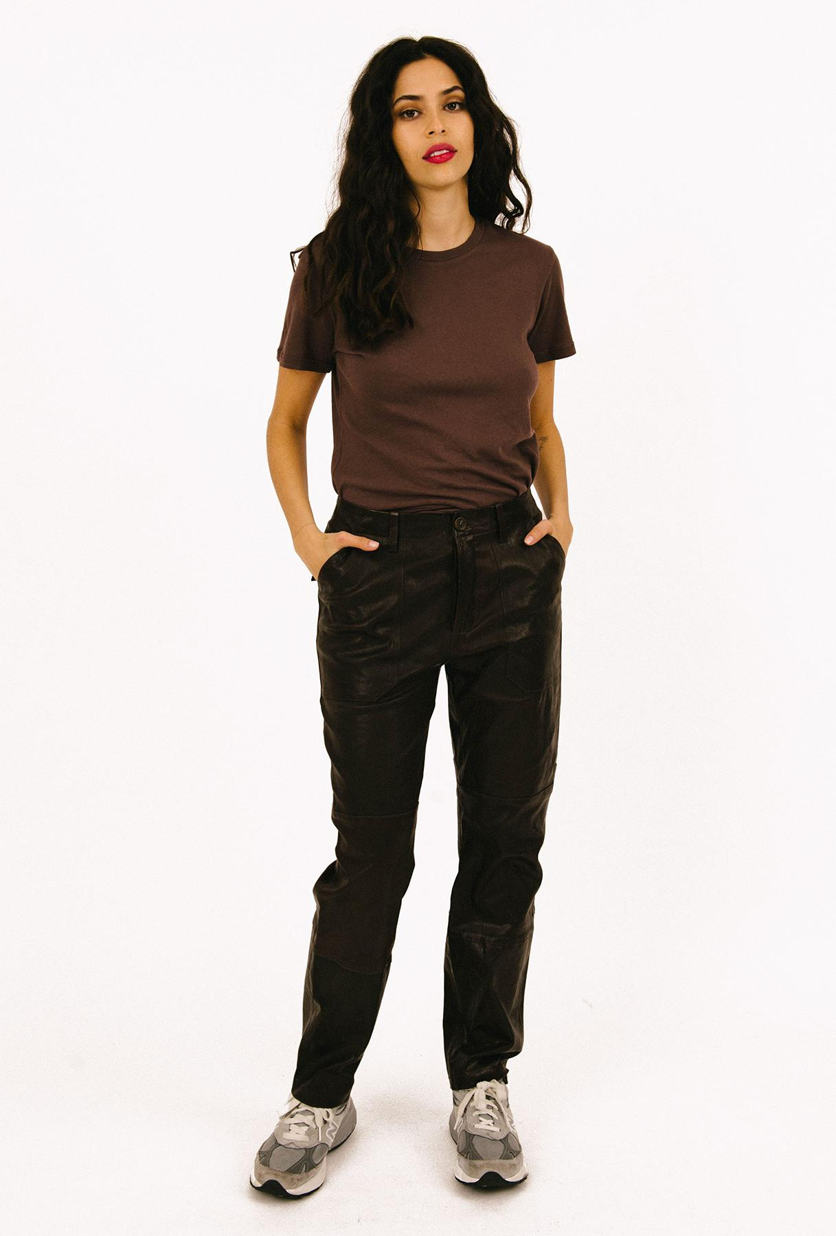 Vintage Coal Leather Cargo Pant