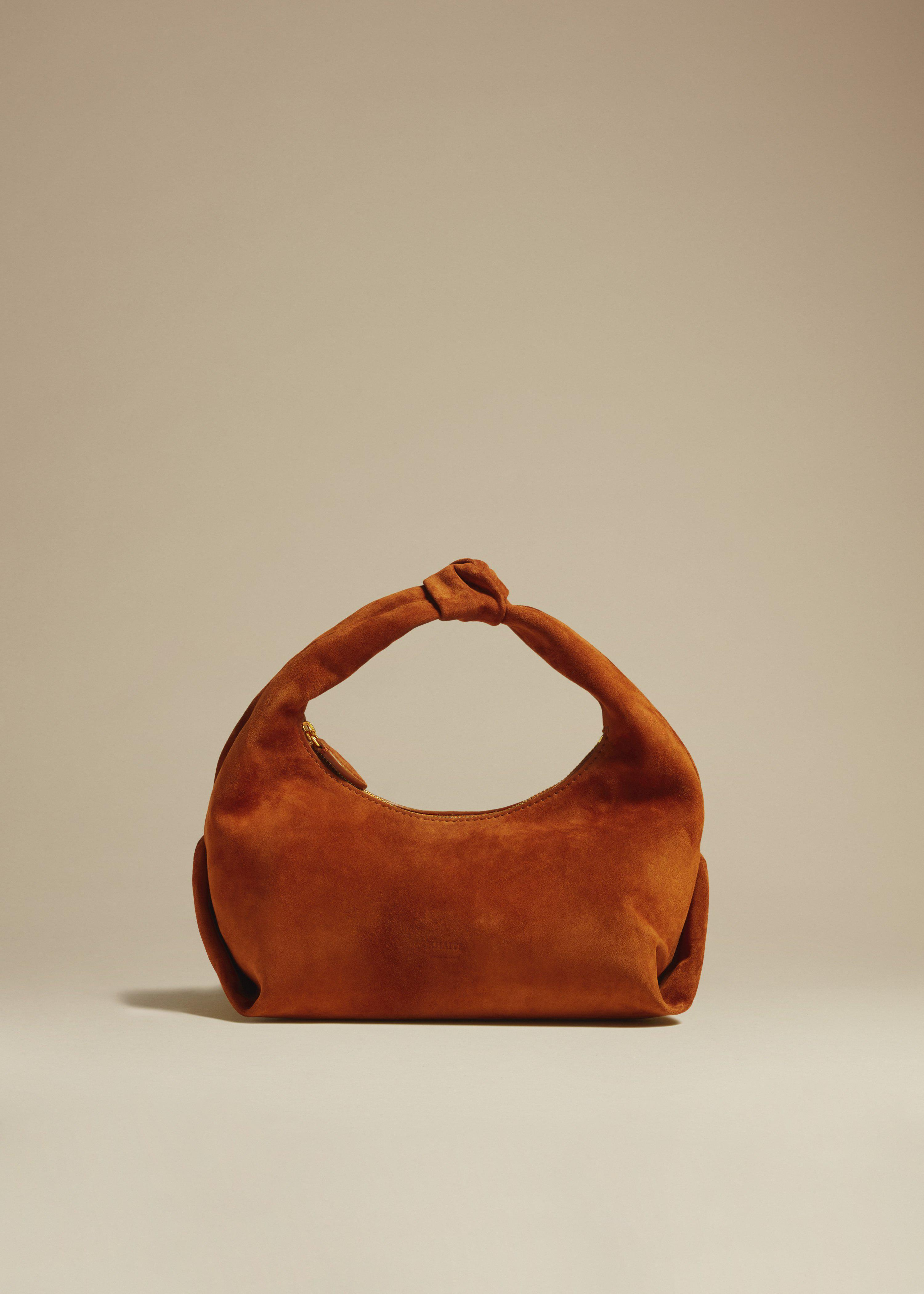 The Small Beatrice Hobo in Caramel Suede