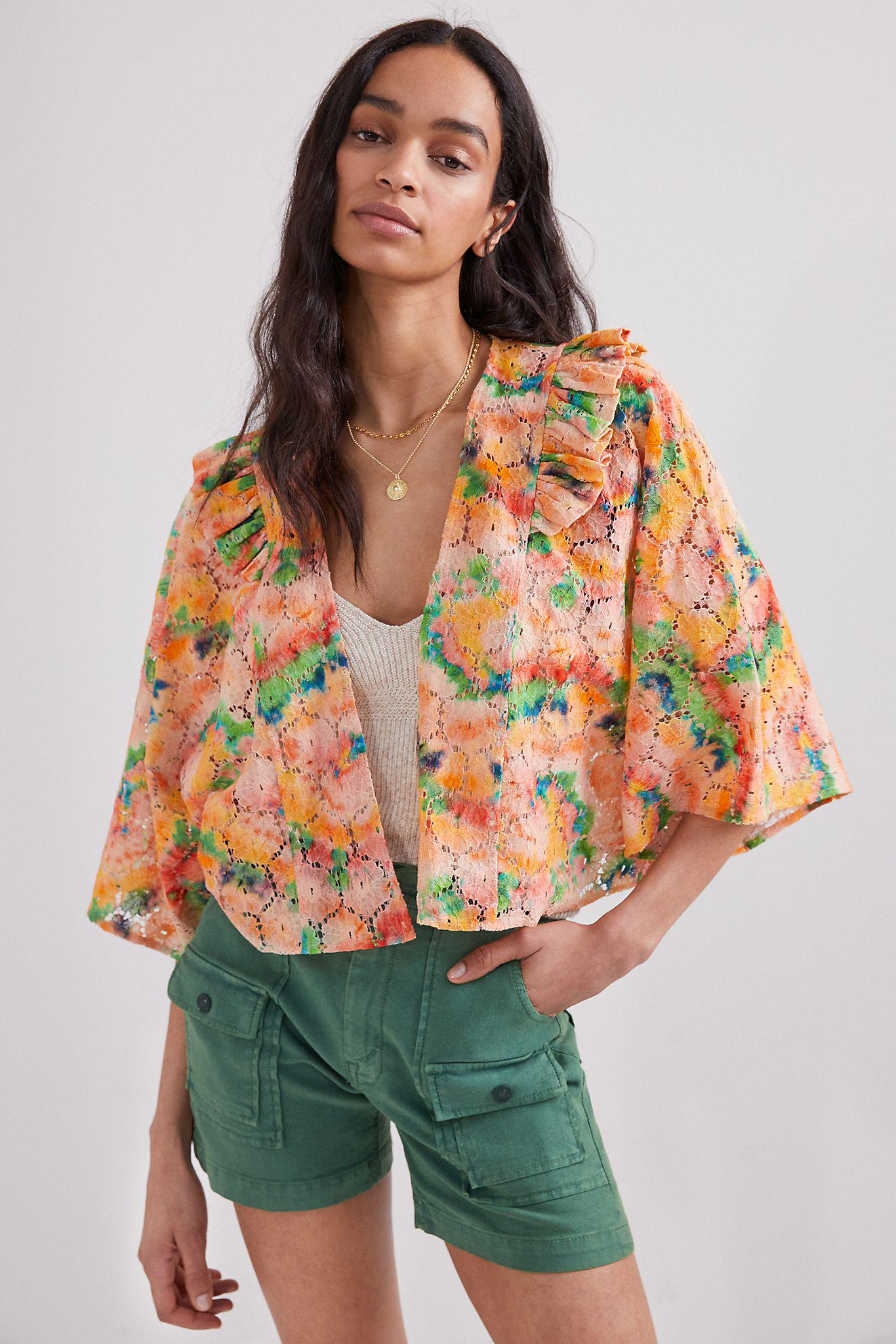 Cropped Floral Lace Shrug