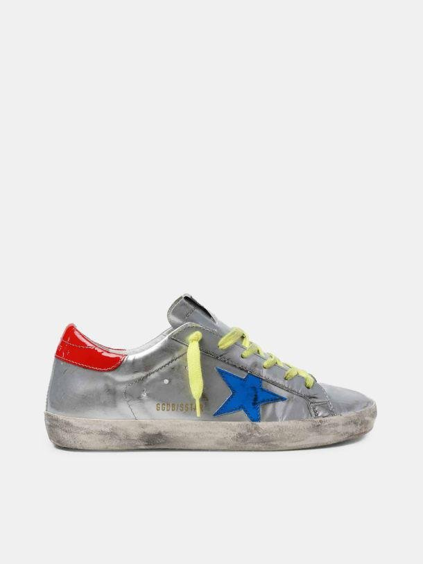 Silver Super-Star sneakers with blue star