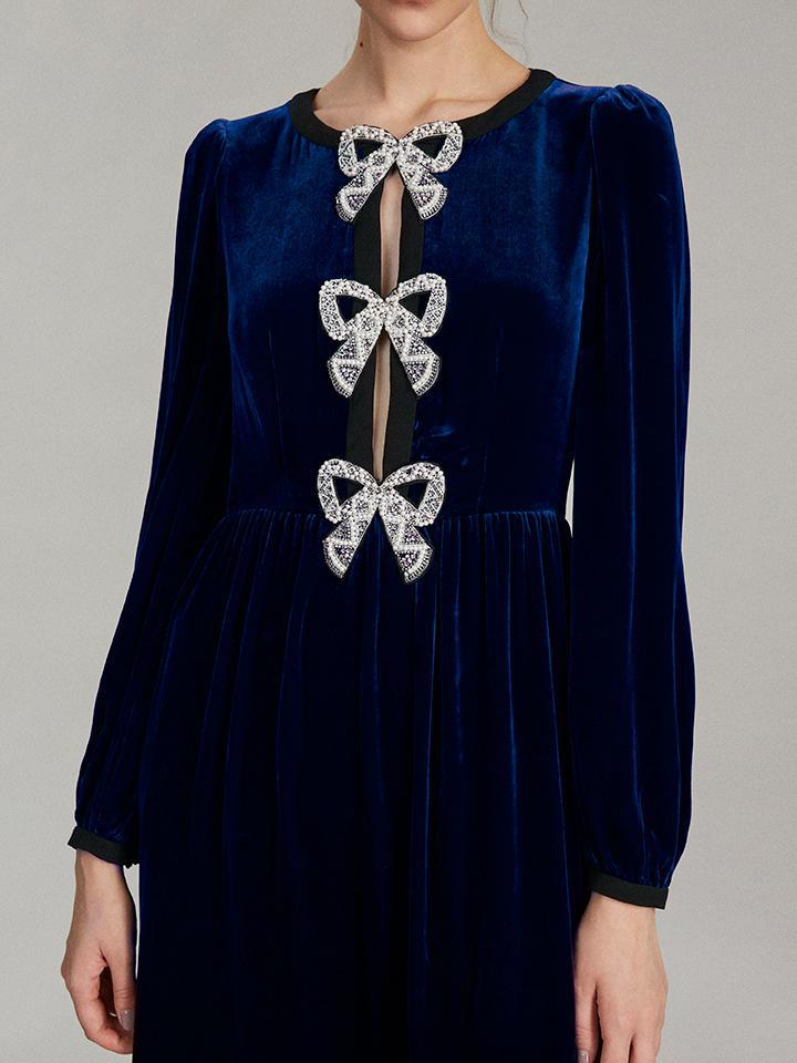 Camille Bows Mini Dress in Navy 2