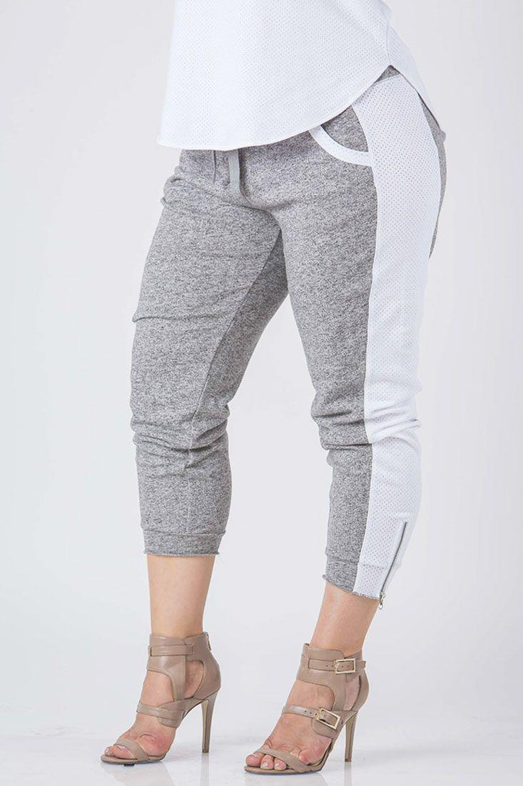 Sami French Terry Mesh Side Ankle Zip Pull On Jogger Pants - SP Plus