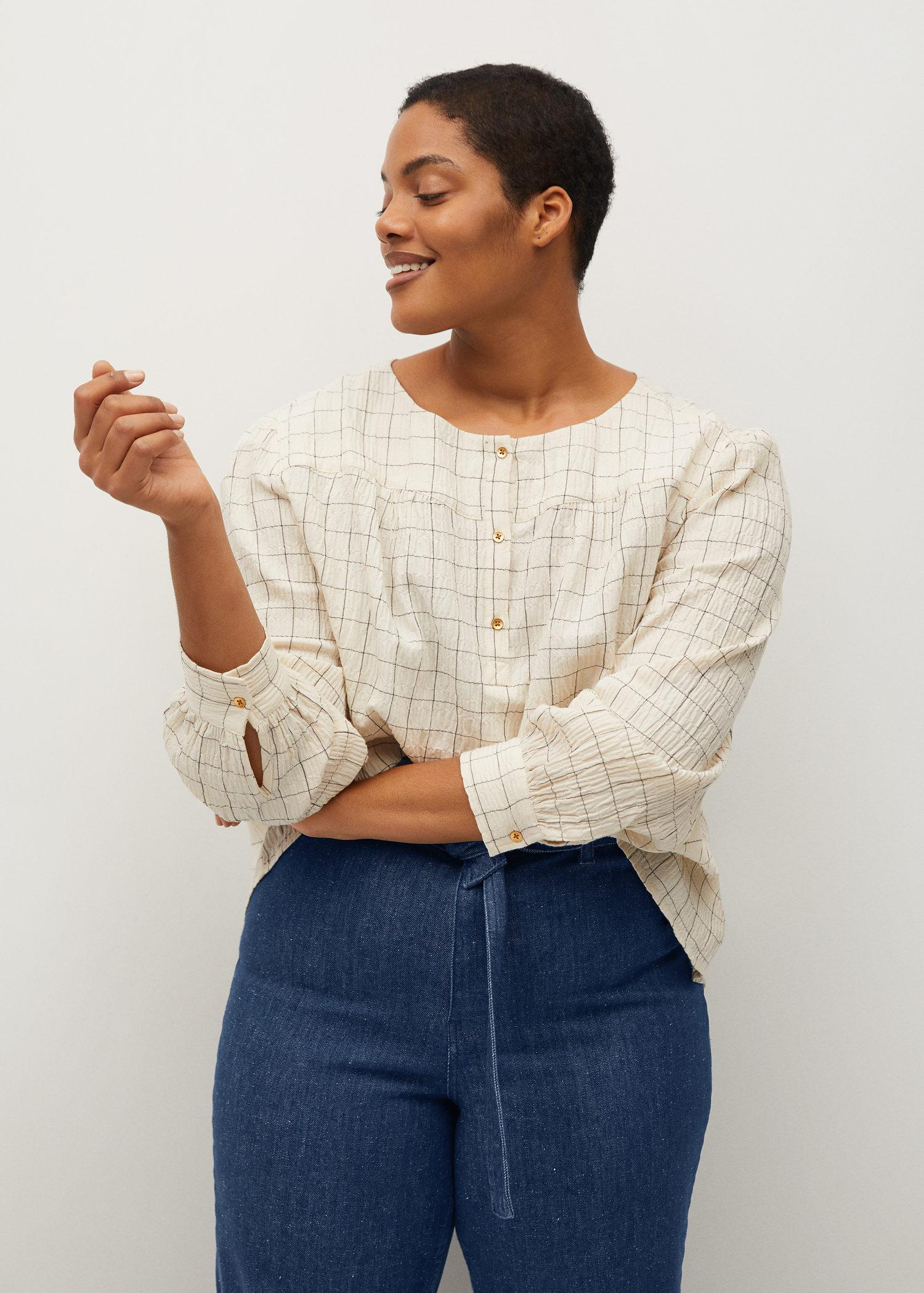 Textured check blouse 1