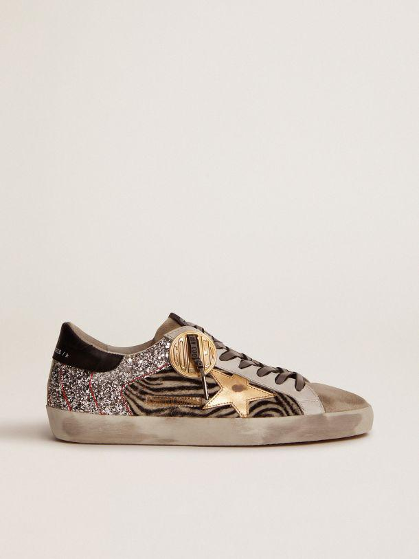Super-Star Game EDT Capsule Collection sneakers in zebra-print pony skin and silver glitter