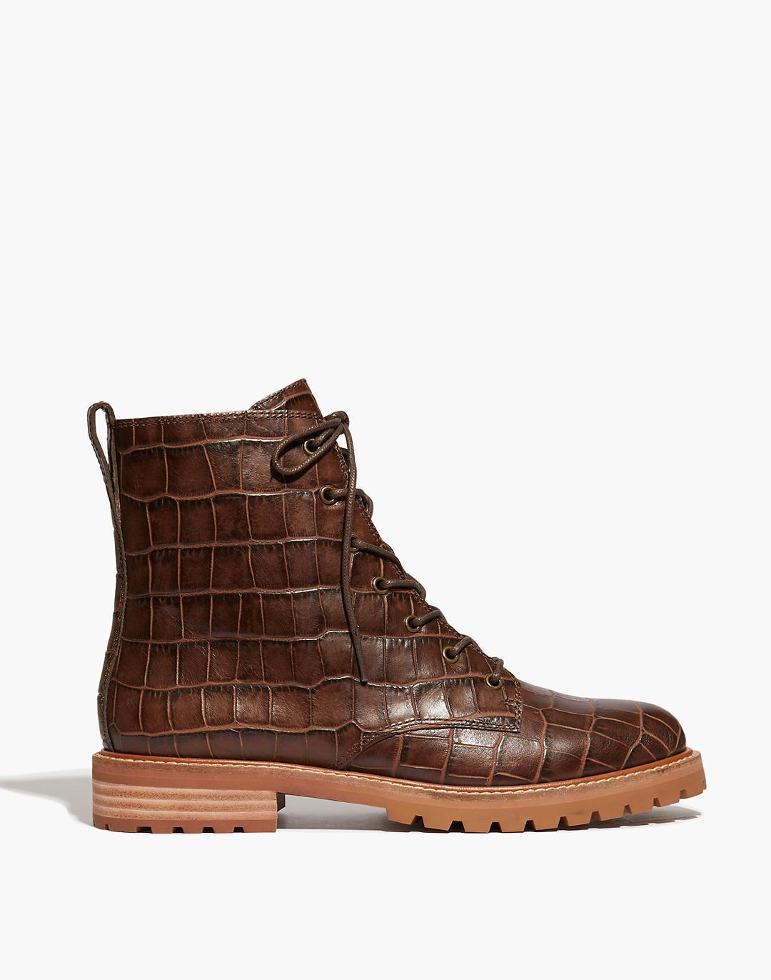 The Clair Lace-Up Boot in Croc Embossed Leather 1